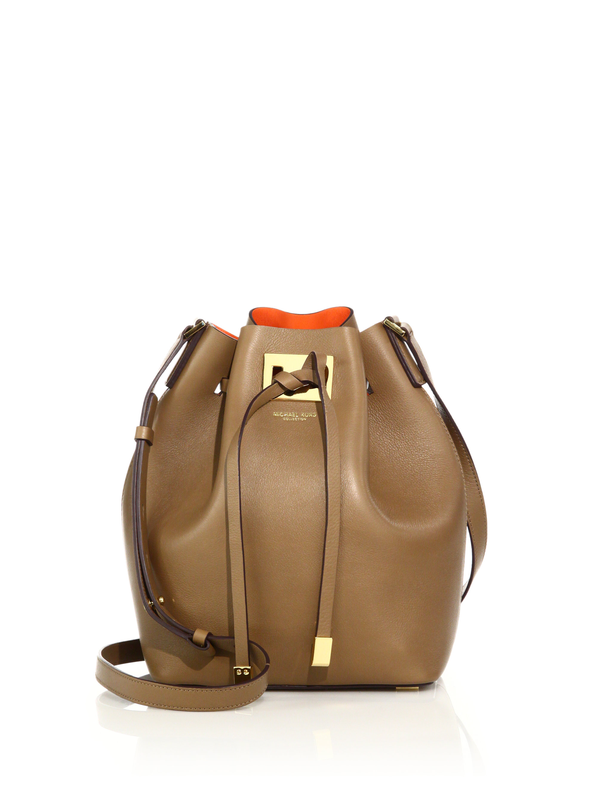 c2a2a7de5389 ... discount code for lyst michael kors miranda medium leather bucket bag  in natural d9f7a 13255