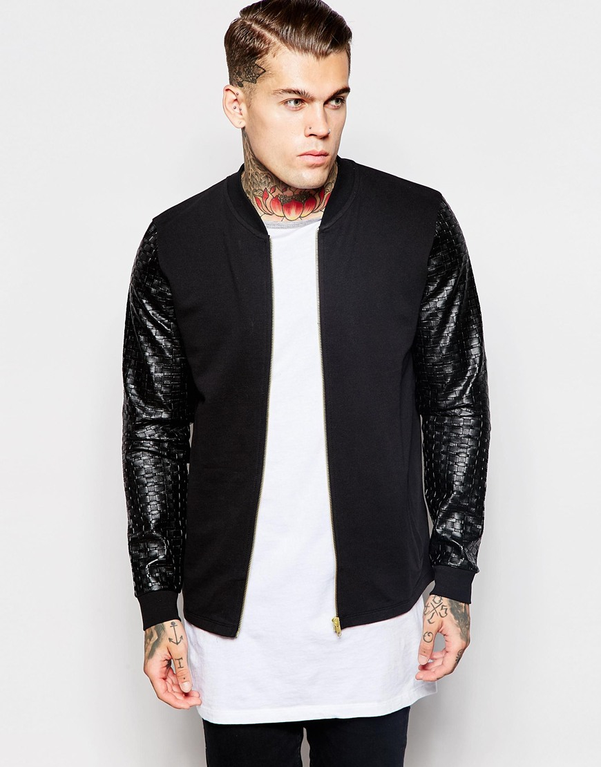 Leather Sleeve Bomber Jacket Mens - Coat Nj