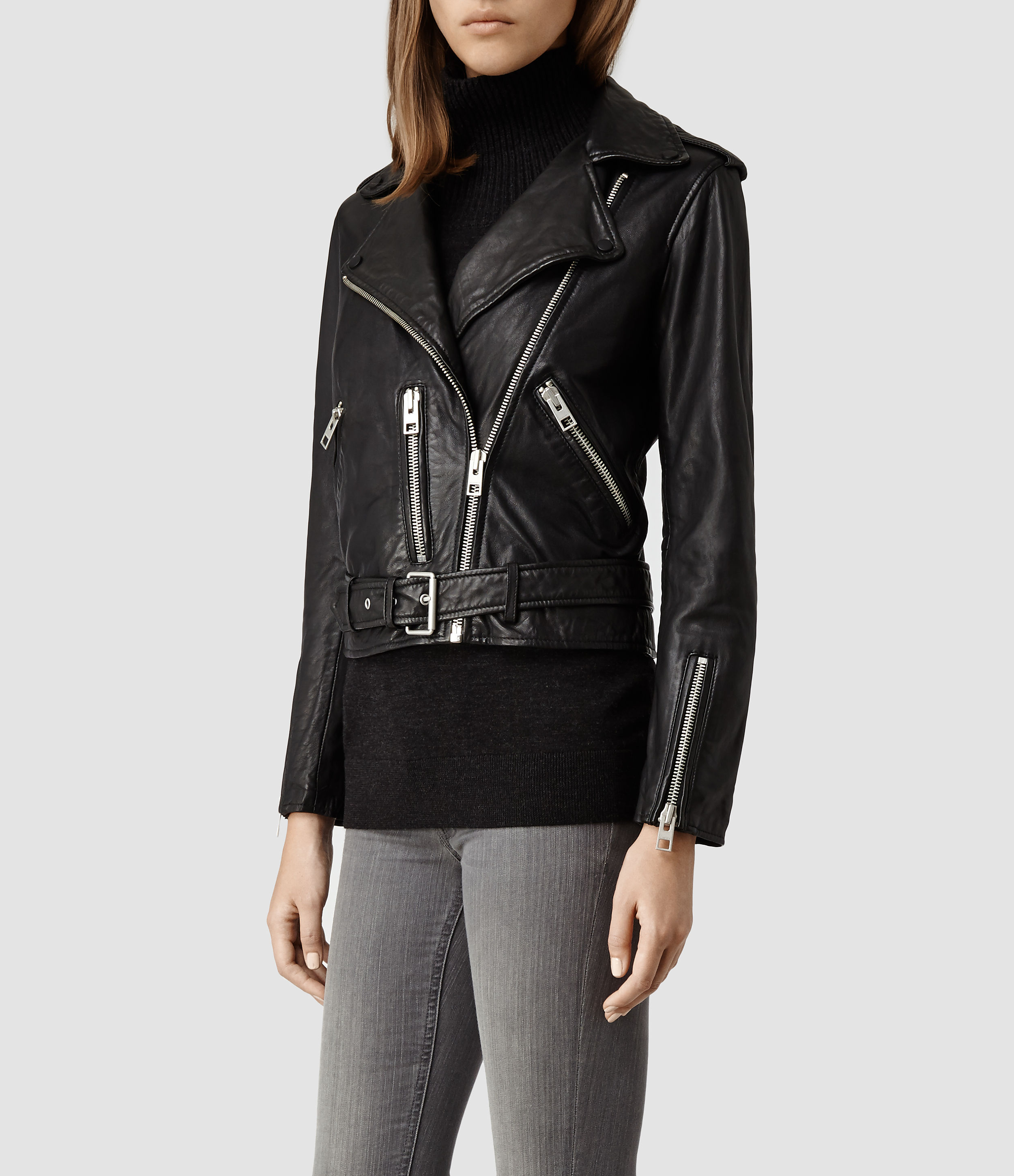 All Saints Women's Leather Balfern Biker Jacket | eBay