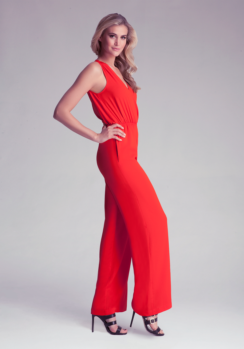 91148b2e4ba Bebe Solid Open Back Jumpsuit in Red