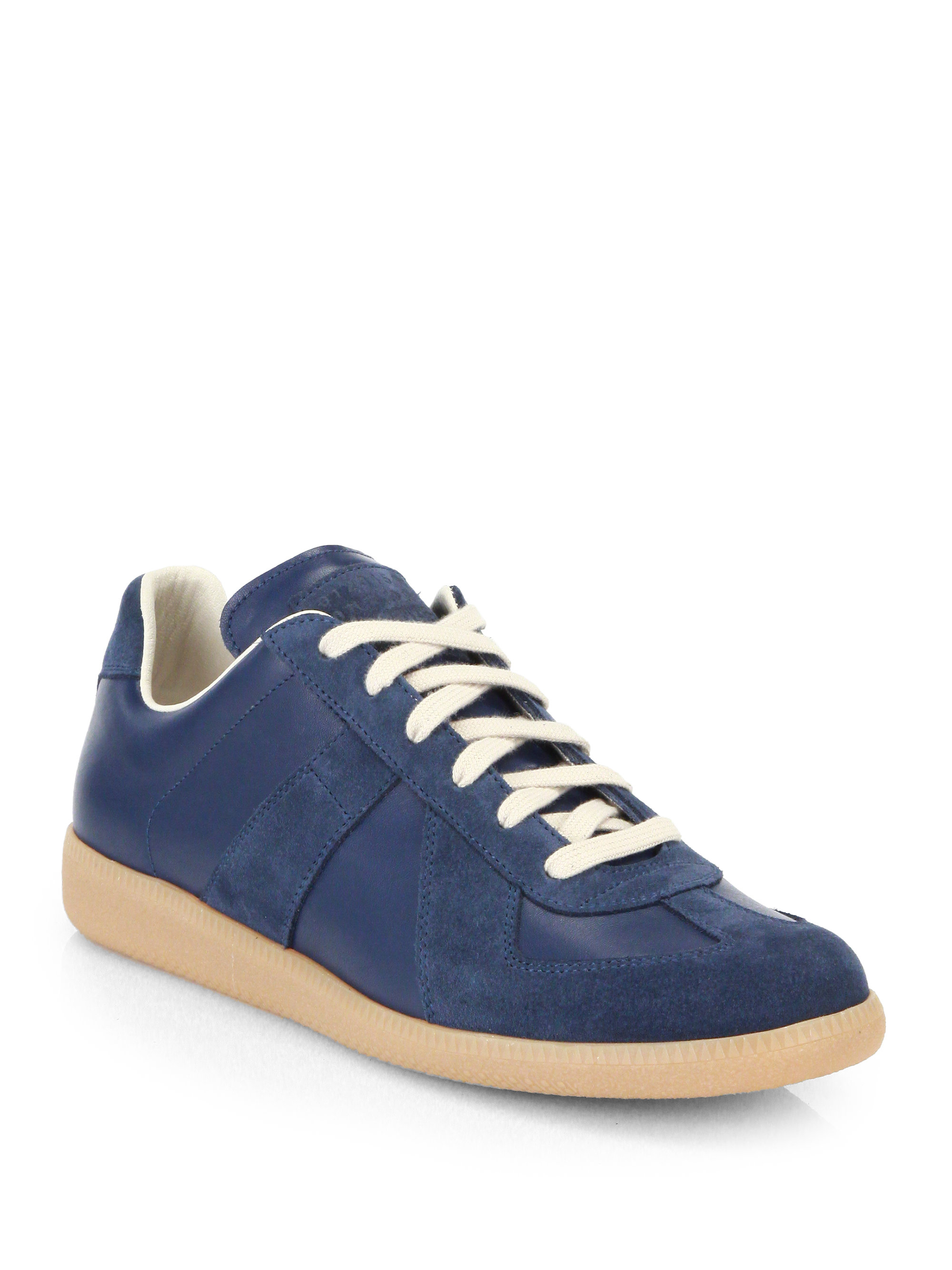 Maison Margiela Replica Suede Amp Leather Lace Up Sneakers In Blue For Men Royal Blue Lyst