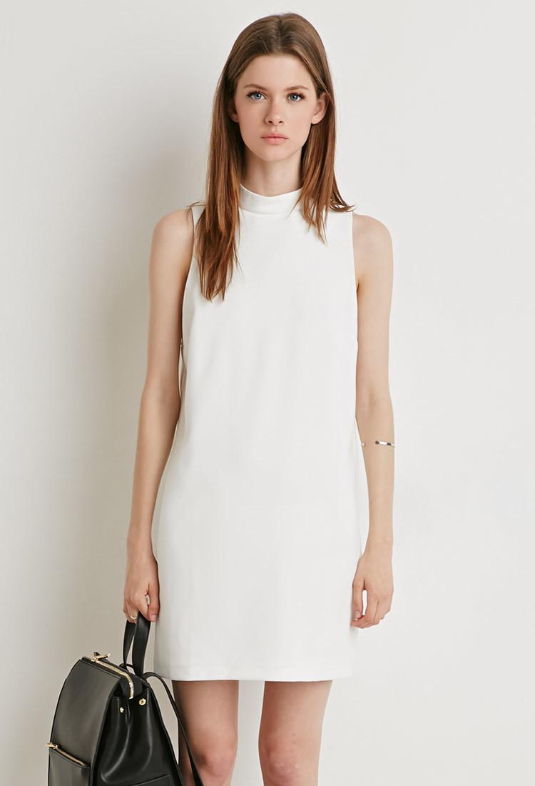 9827c41b1f Lyst - Forever 21 Mock Neck Shift Dress in Natural