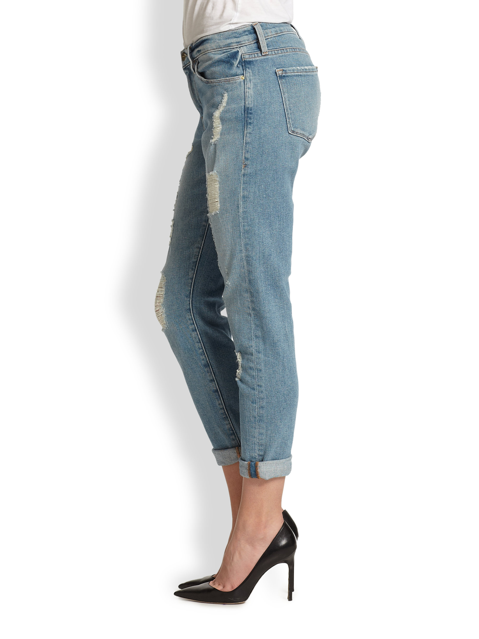 Frame Le Garcon Distressed Cropped Boyfriend Jeans In Blue