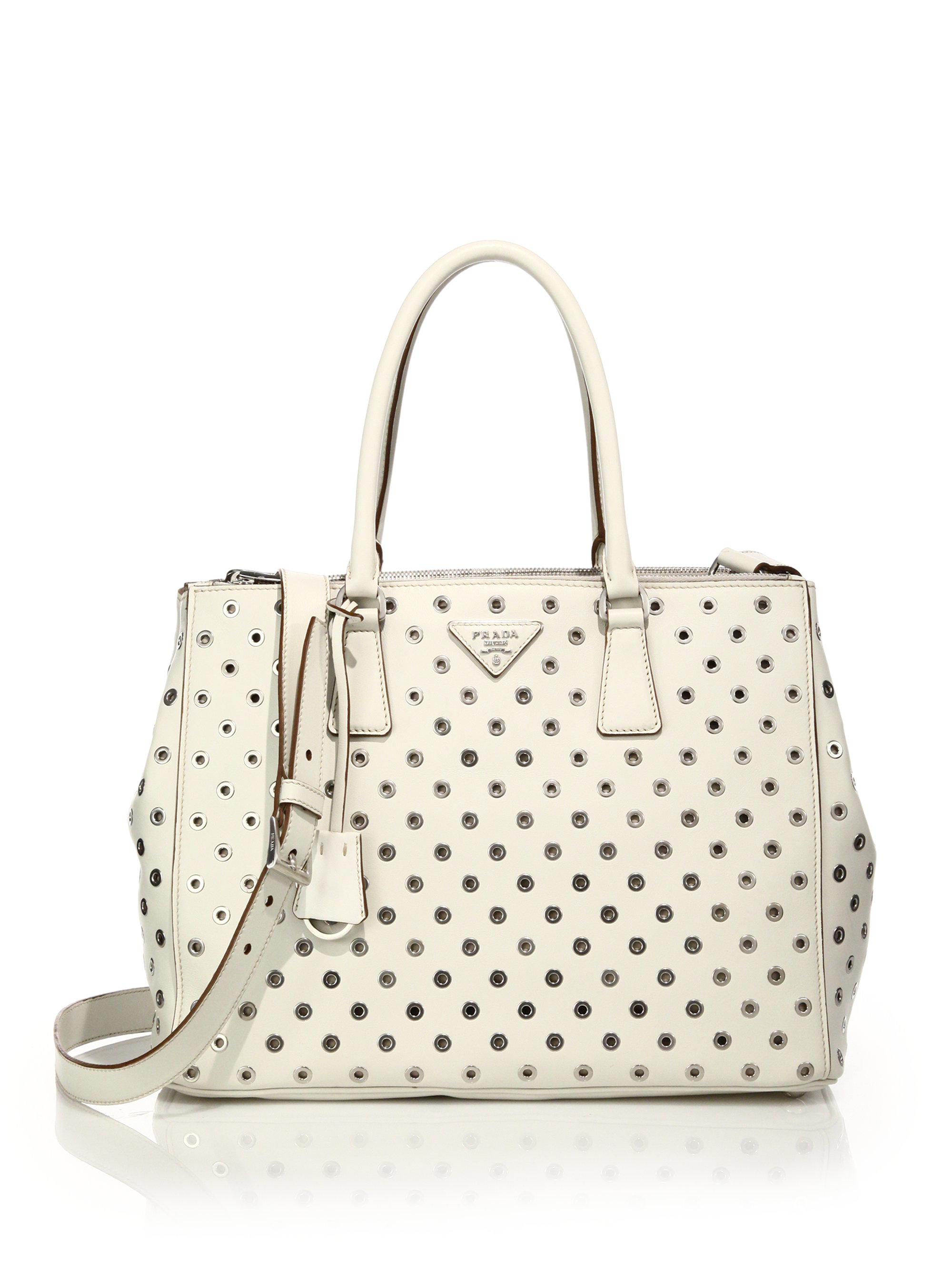 Prada City Calf Double Zip Tote in Beige (ivory) | Lyst