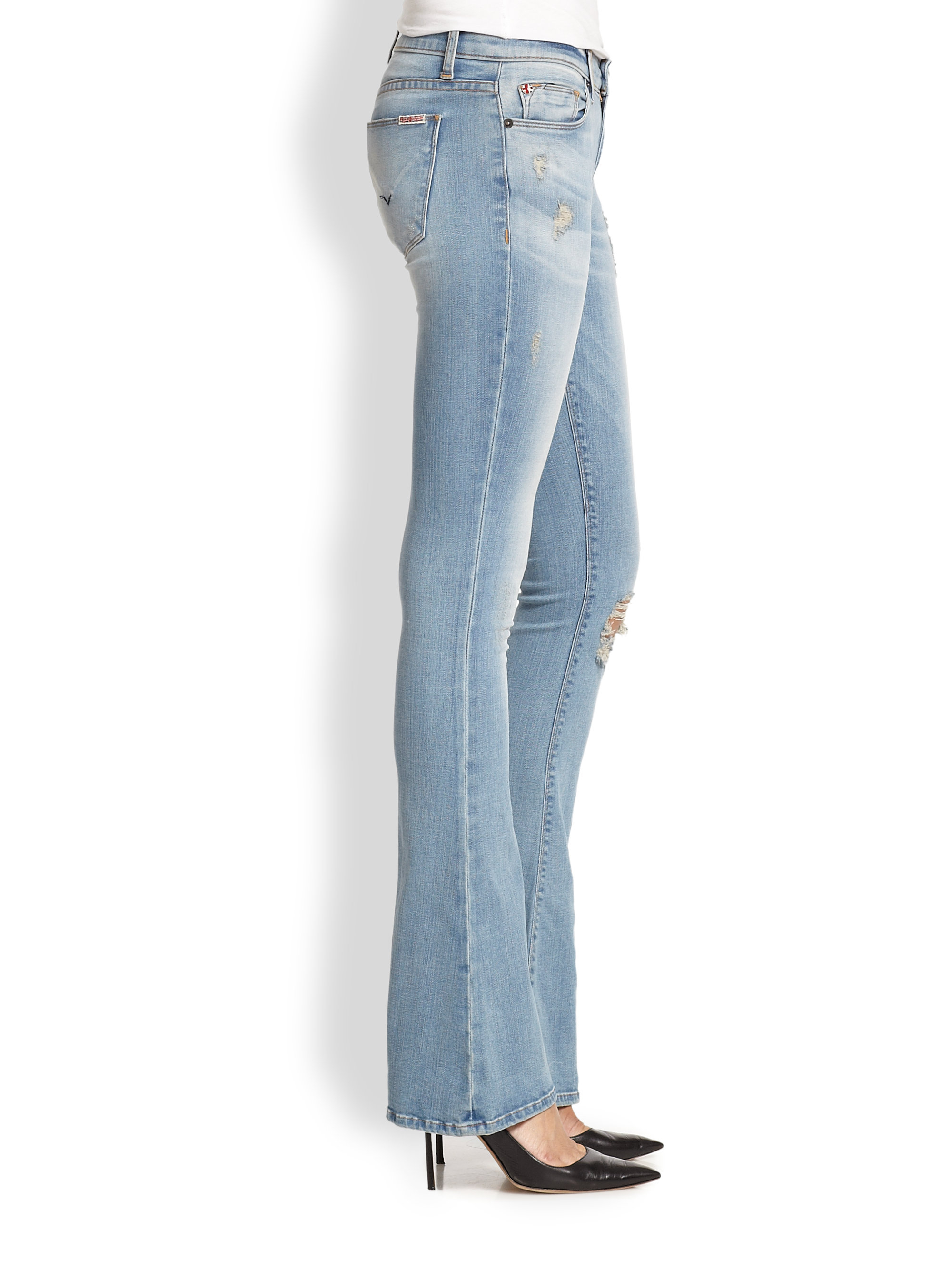 Hudson jeans Angel Distressed Flared Jeans in Blue | Lyst