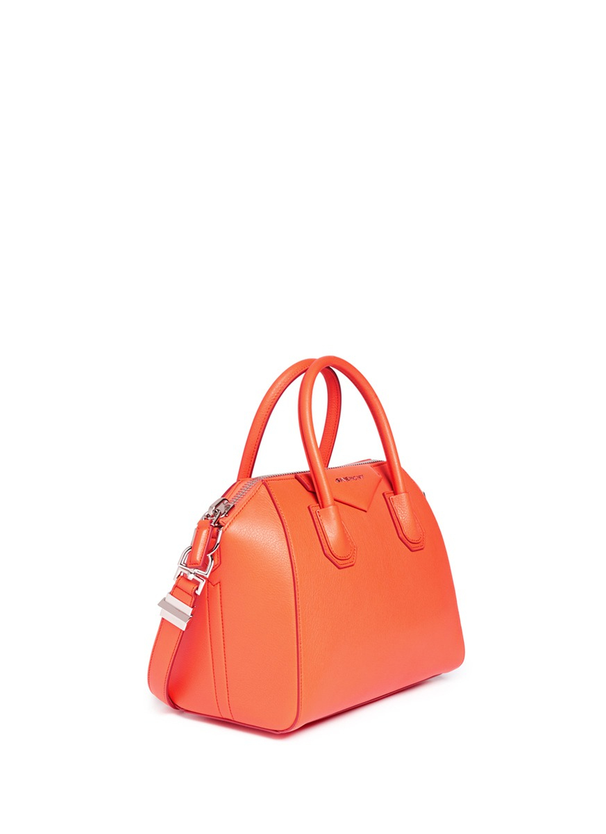 Lyst - Givenchy Antigona Small Leather Satchel in Orange 864bd48491ba4