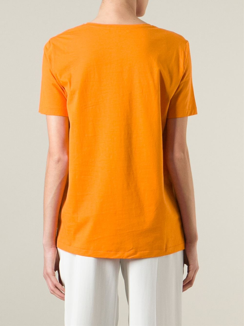Acne 39 vista 39 portrait print t shirt in orange yellow for Vista t shirt printing