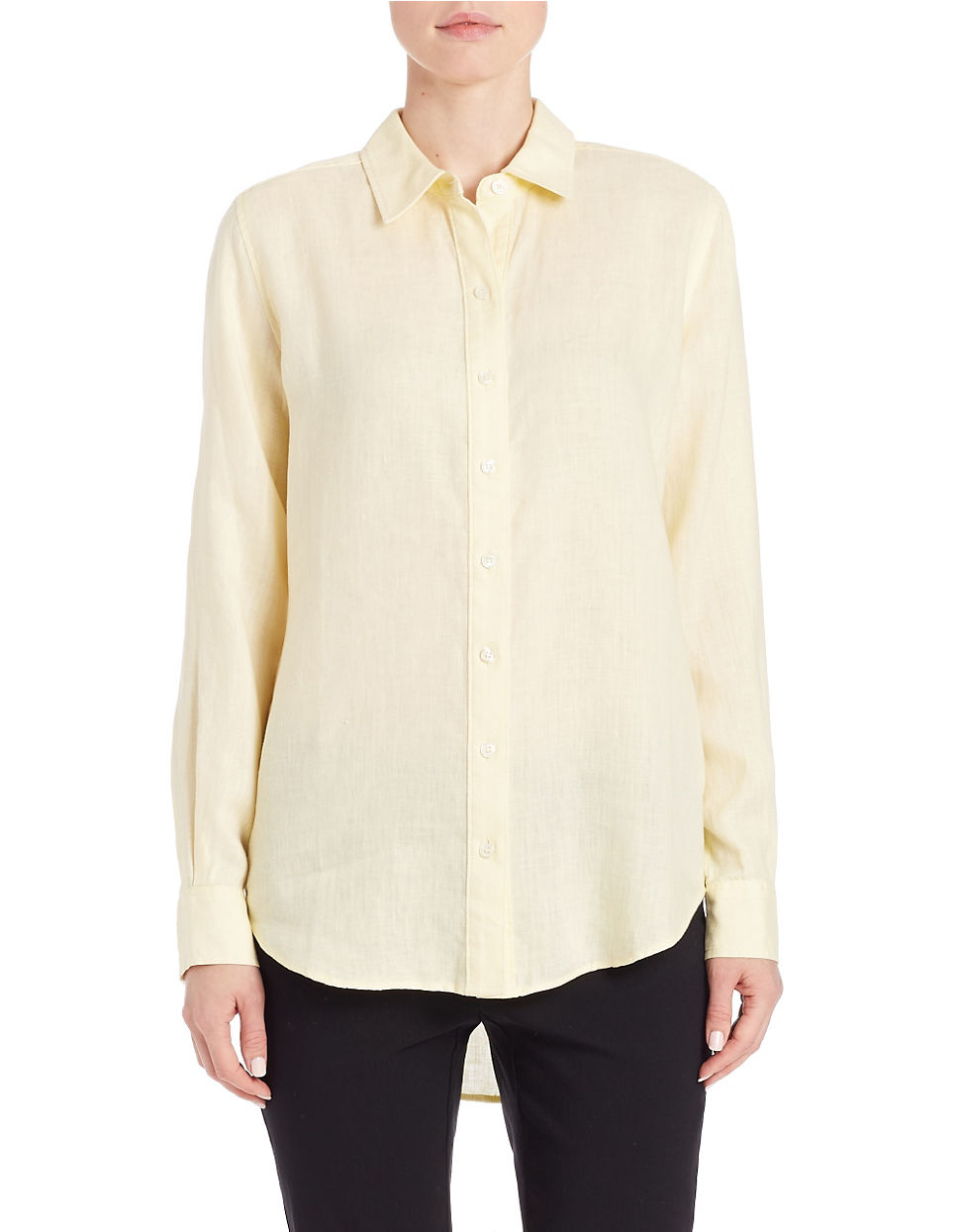 Lord Taylor Linen Hi Low Dress Shirt In Pink Lyst