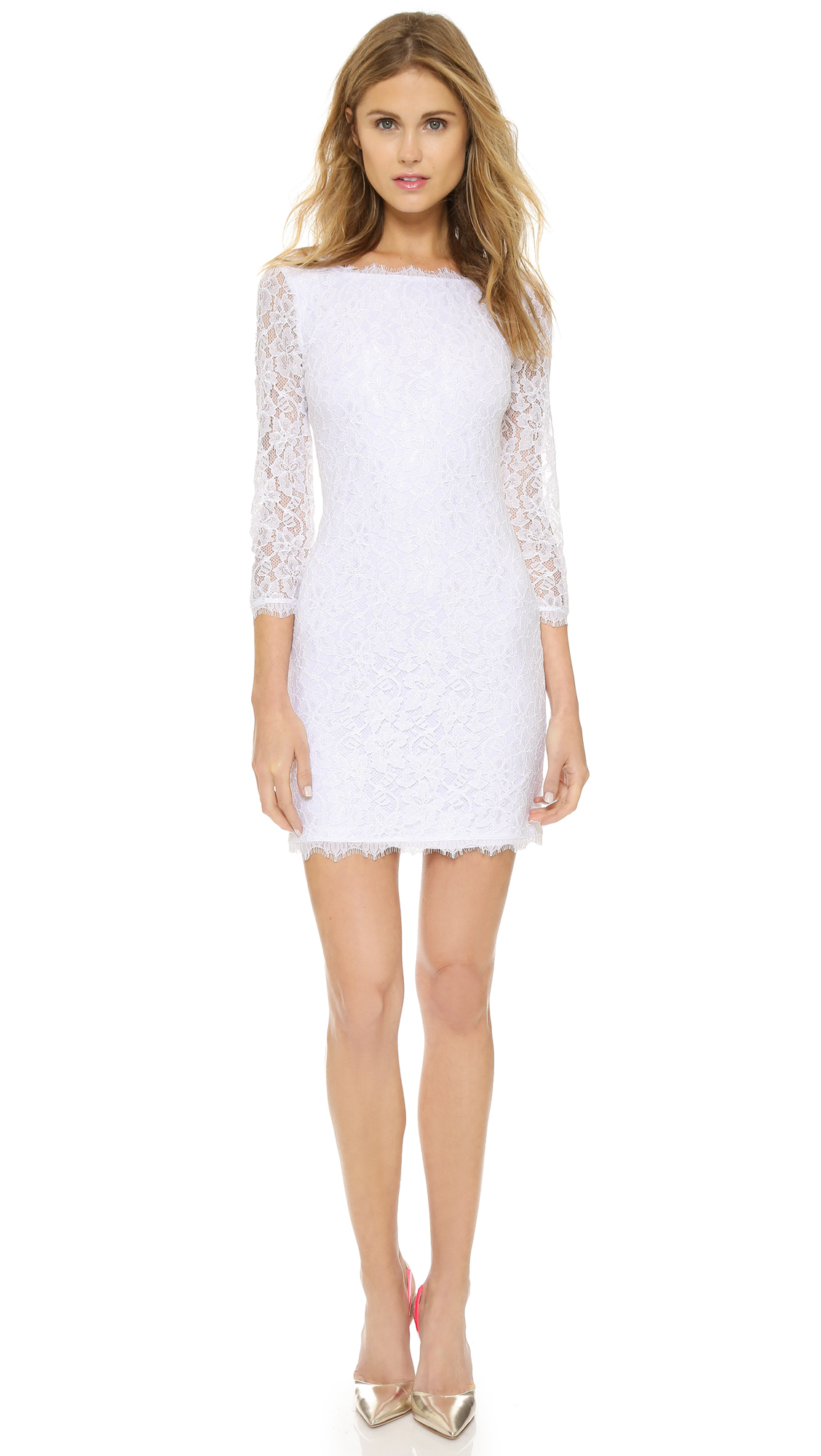 Diane von furstenberg zarita lace dress white in white for Diane von furstenberg clothes