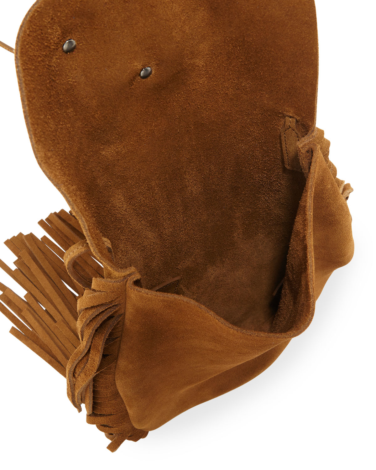 yves st laurent handbags - anita fringed flat bag in ocher suede leather