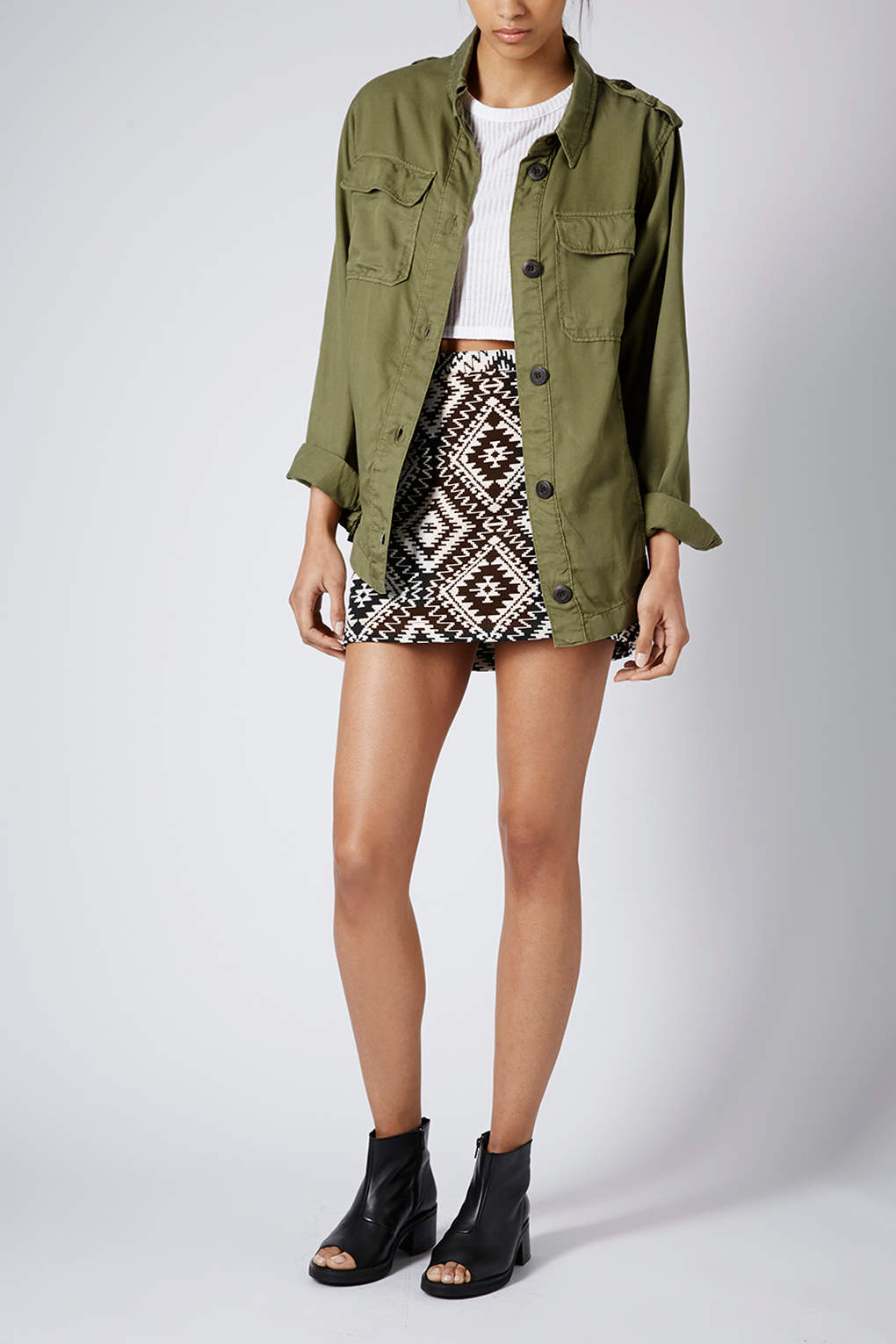 e968d2f99 TOPSHOP Lightweight Shirt Jacket in Natural - Lyst