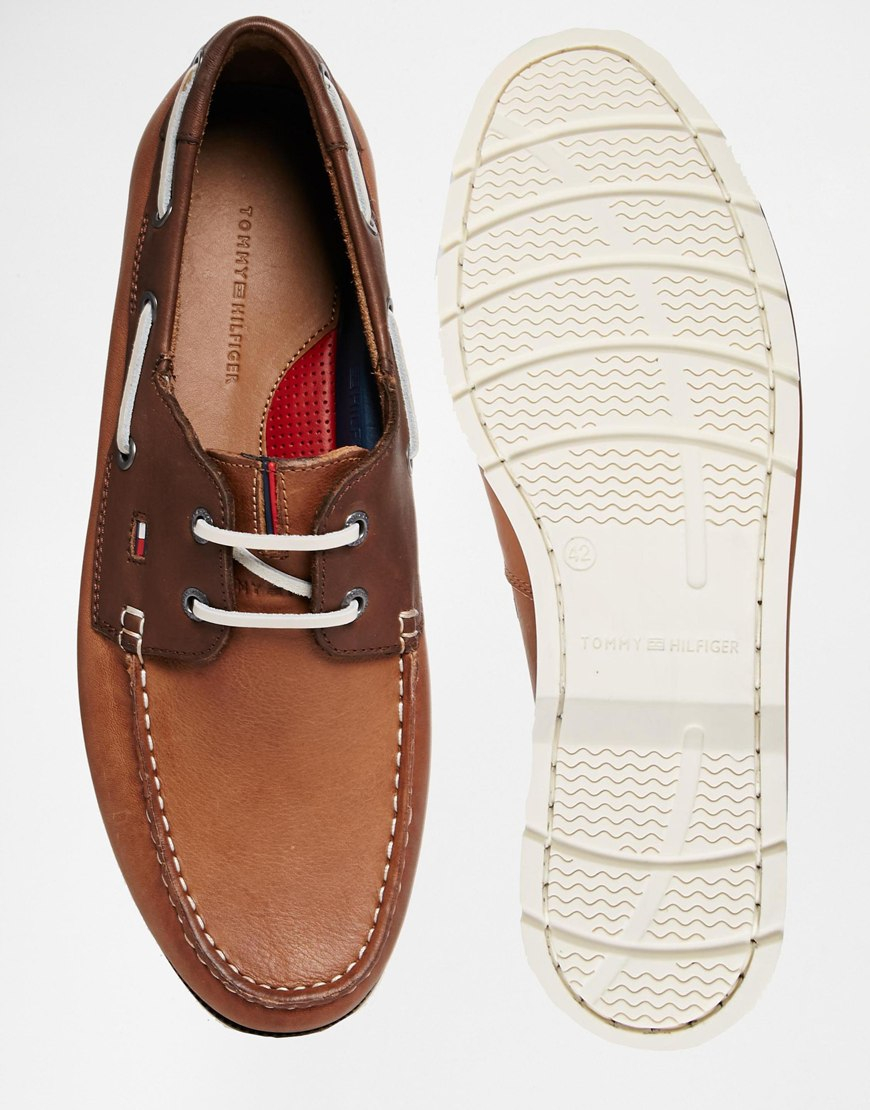 8ca15a7a01a980 Lyst - Tommy Hilfiger Nubuck Leather Boat Shoes in Brown for Men