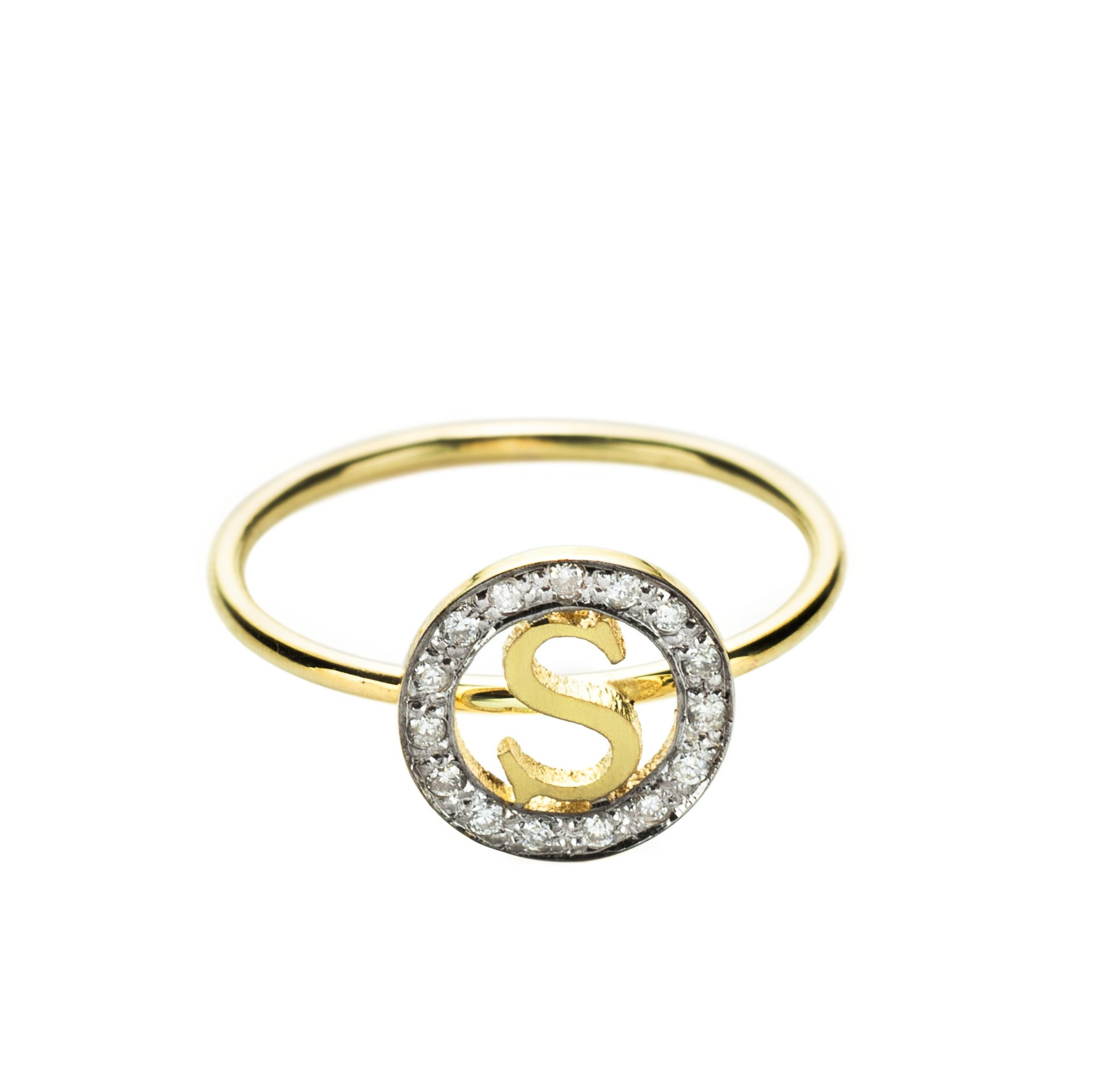 k small circle initial ring in gold green lyst