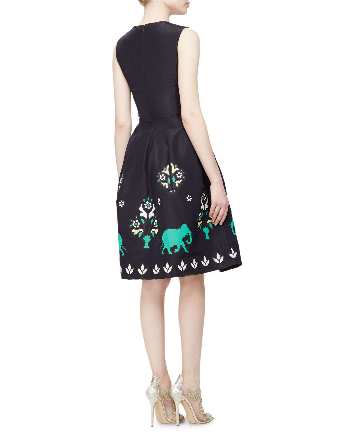 lyst oscar de la renta jewel neck sleeveless elephant embroidered dress in blue. Black Bedroom Furniture Sets. Home Design Ideas