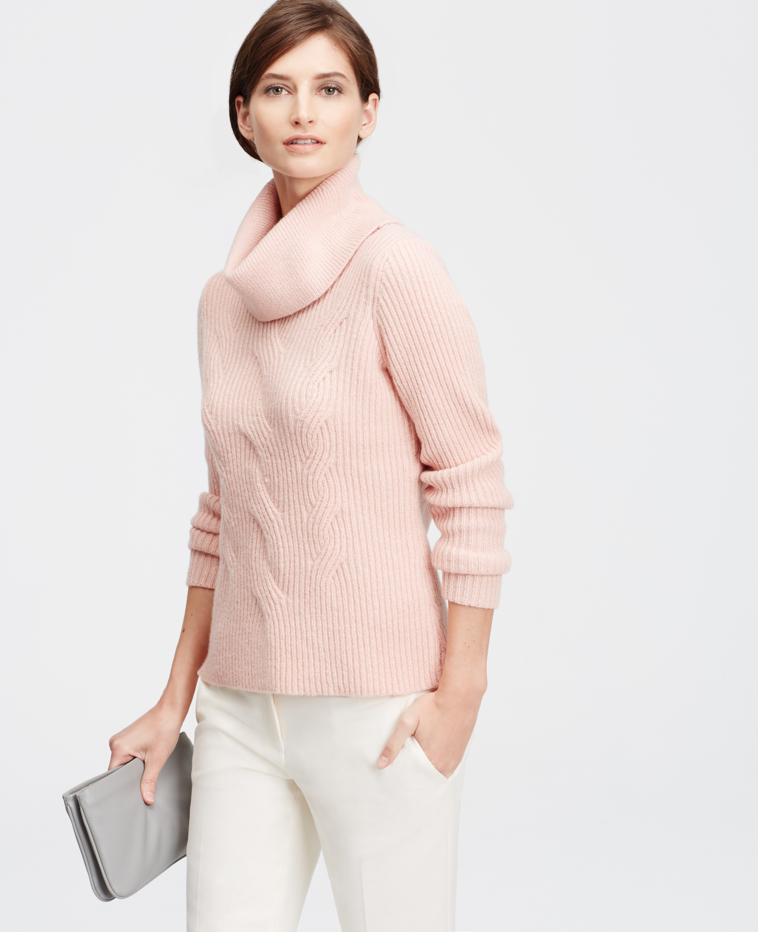 Ann taylor Cowl Neck Cable Sweater in Pink | Lyst