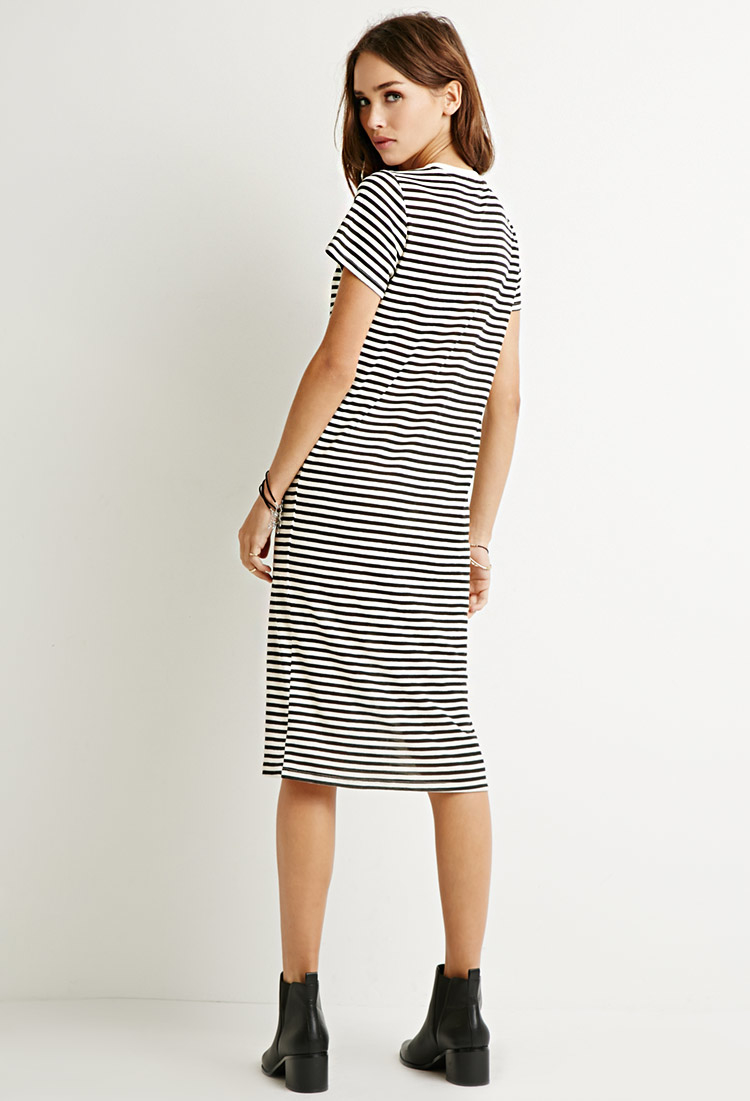 7975962e46 Forever 21 Classic Striped T-shirt Dress in Black - Lyst
