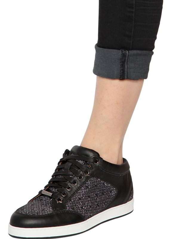 4f80101d88a4 Jimmy Choo Miami Glittered Leather Sneakers in Black - Lyst