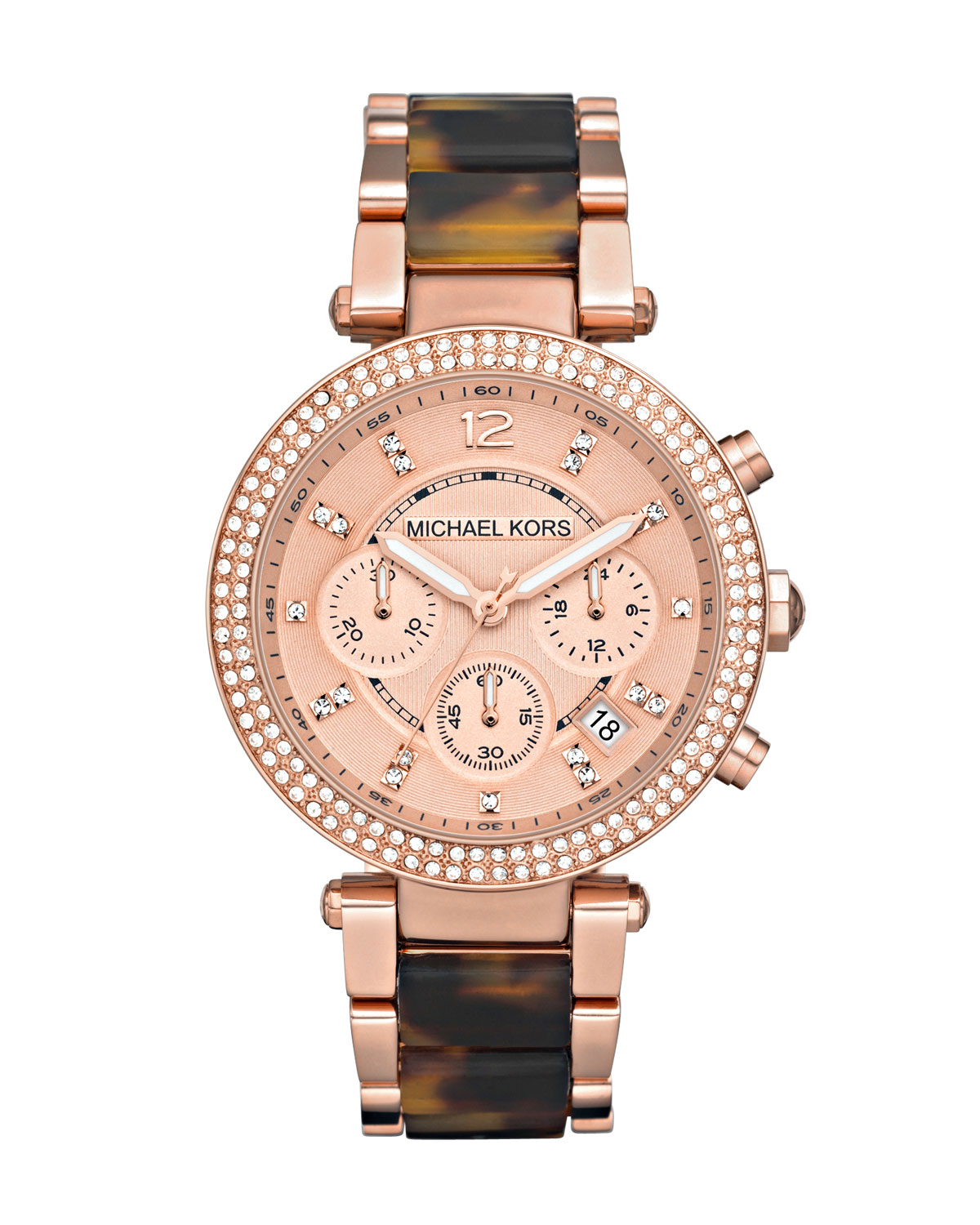 4bf1eaa668da Michael Kors - Pink Parker Mid-size Rose Golden Stainless Steel And  Tortoise Acetate Parker