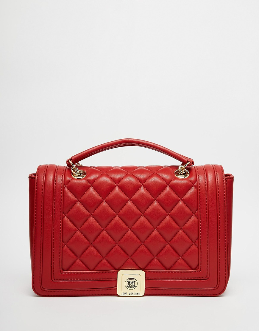 Lyst - Love moschino Quilted Shoulder Bag With Chain Strap In Red ... : red quilted bag - Adamdwight.com