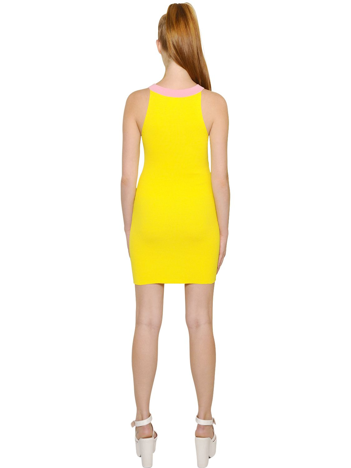 Lyst Boutique Moschino Stretch Ribbed Cotton Knit Dress