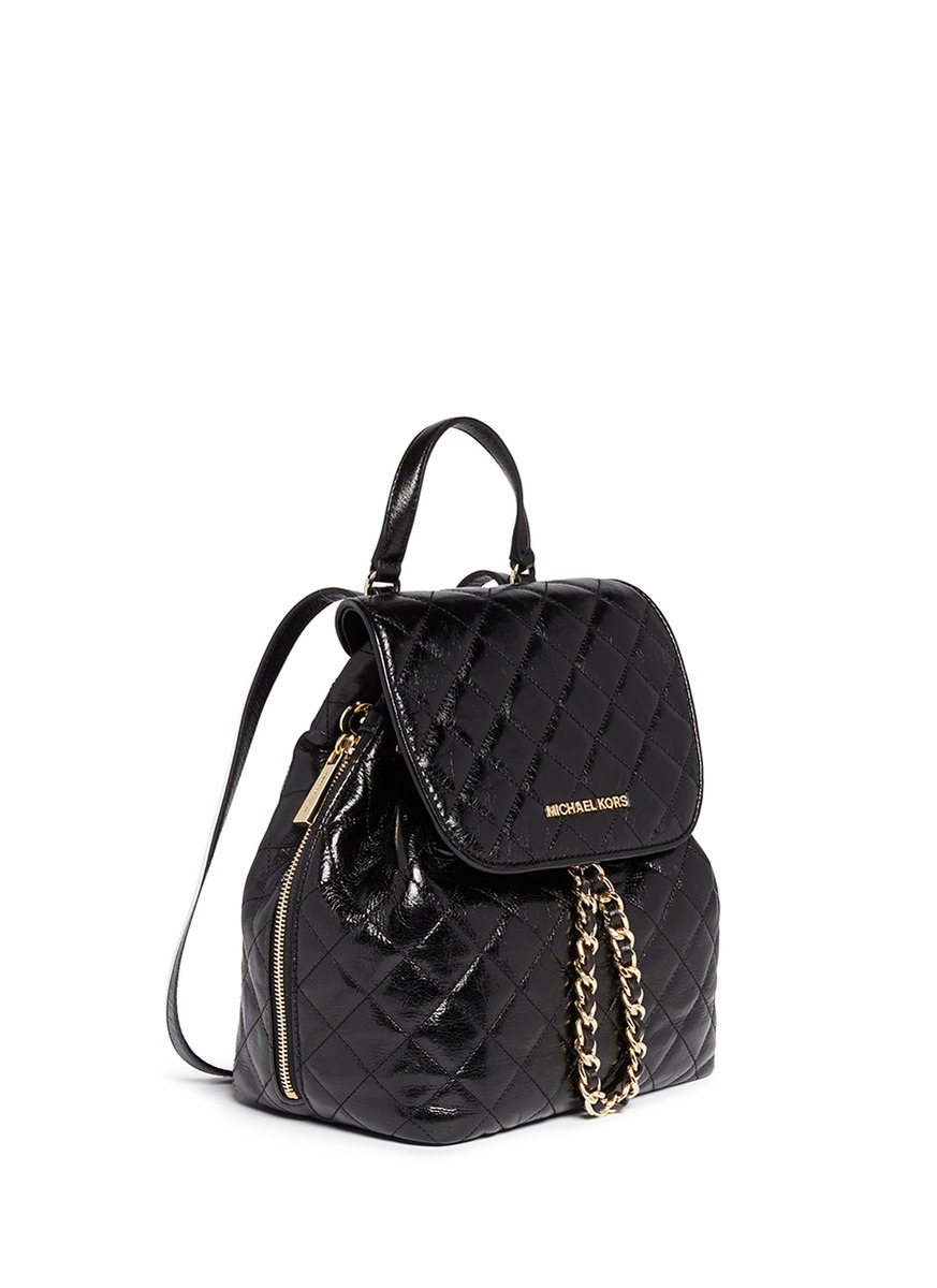 michael michael kors 39 susannah 39 quilted leather backpack in black lyst. Black Bedroom Furniture Sets. Home Design Ideas