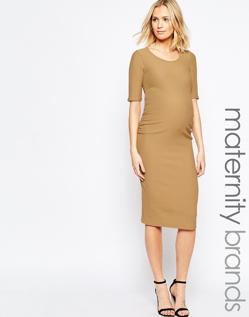 166b595a9cc95 Bluebelle Maternity Bodycon Midi Dress in Brown - Lyst