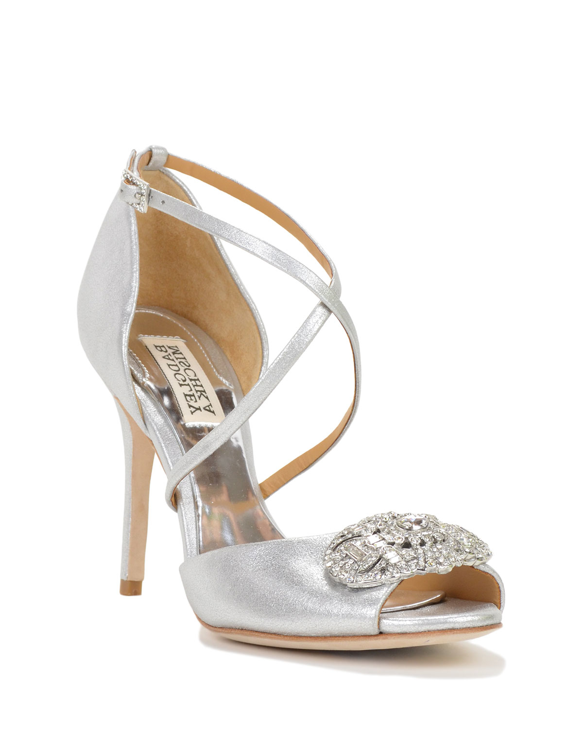 Badgley mischka Sari ii Metallic Strappy Evening Shoe in Metallic