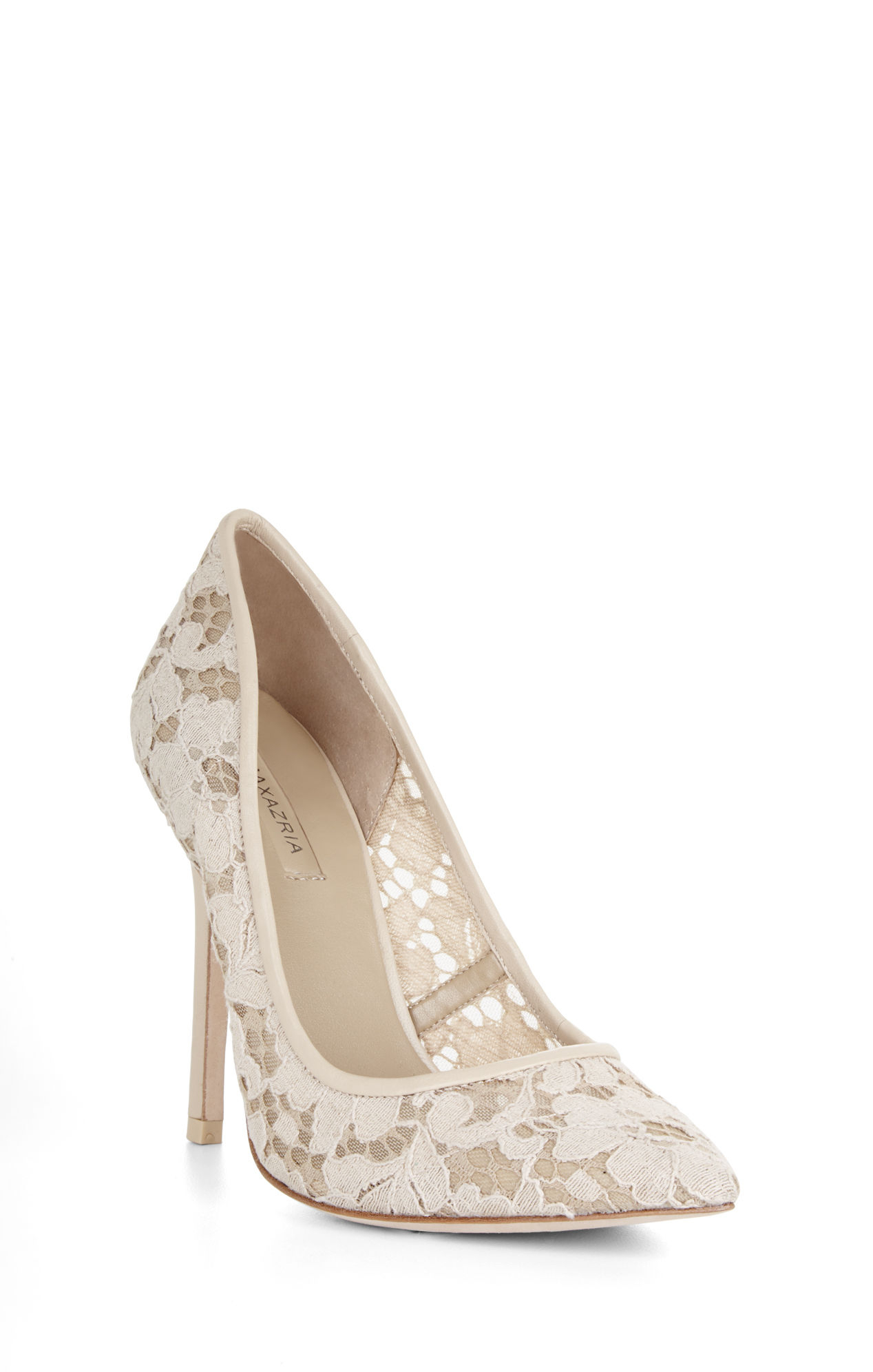 904a8b2568846f Lyst bcbgmaxazria opia high heel lace pointed toe pump in natural jpg  1268x1992 Bcbg natural heels