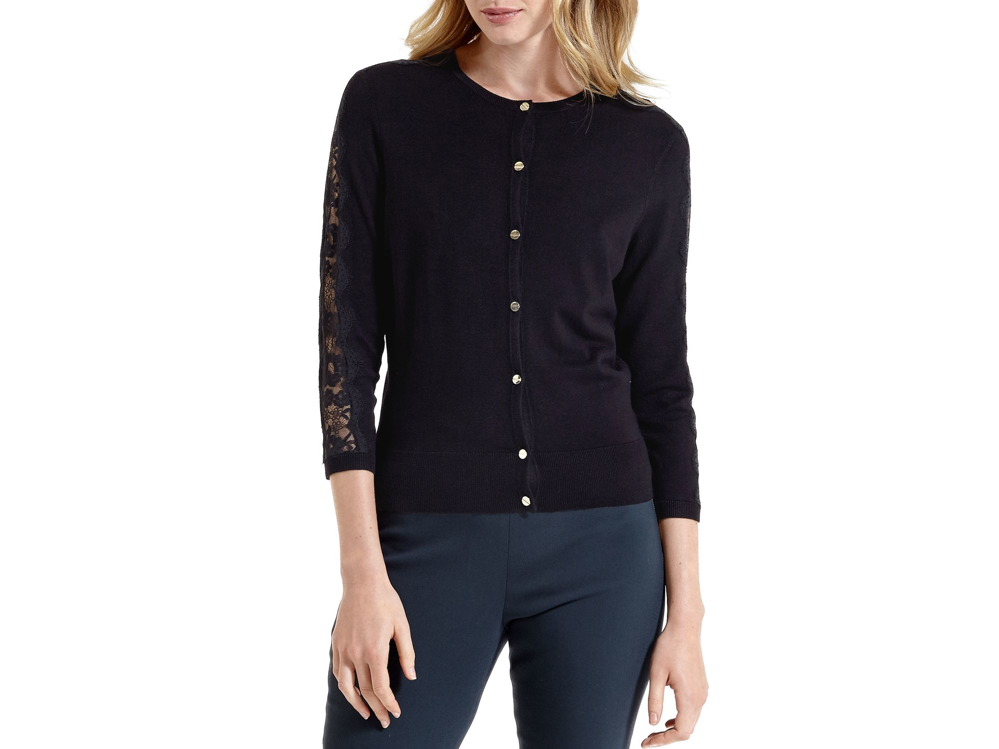 Ted baker Ginahh Lace Detail Cardigan in Black | Lyst