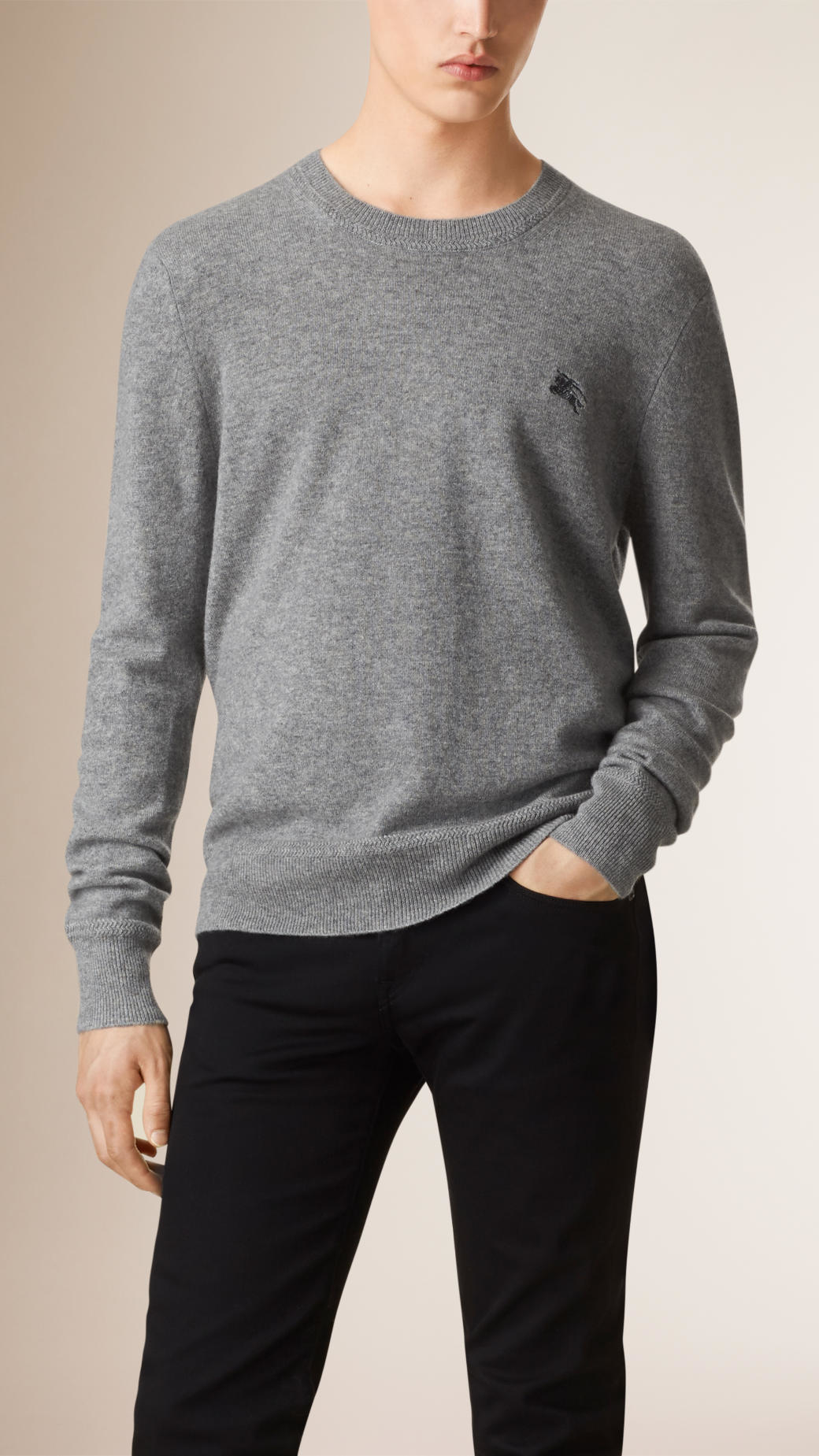 Burberry Crew Neck Cashmere Sweater Light Grey Melange in Gray for ...