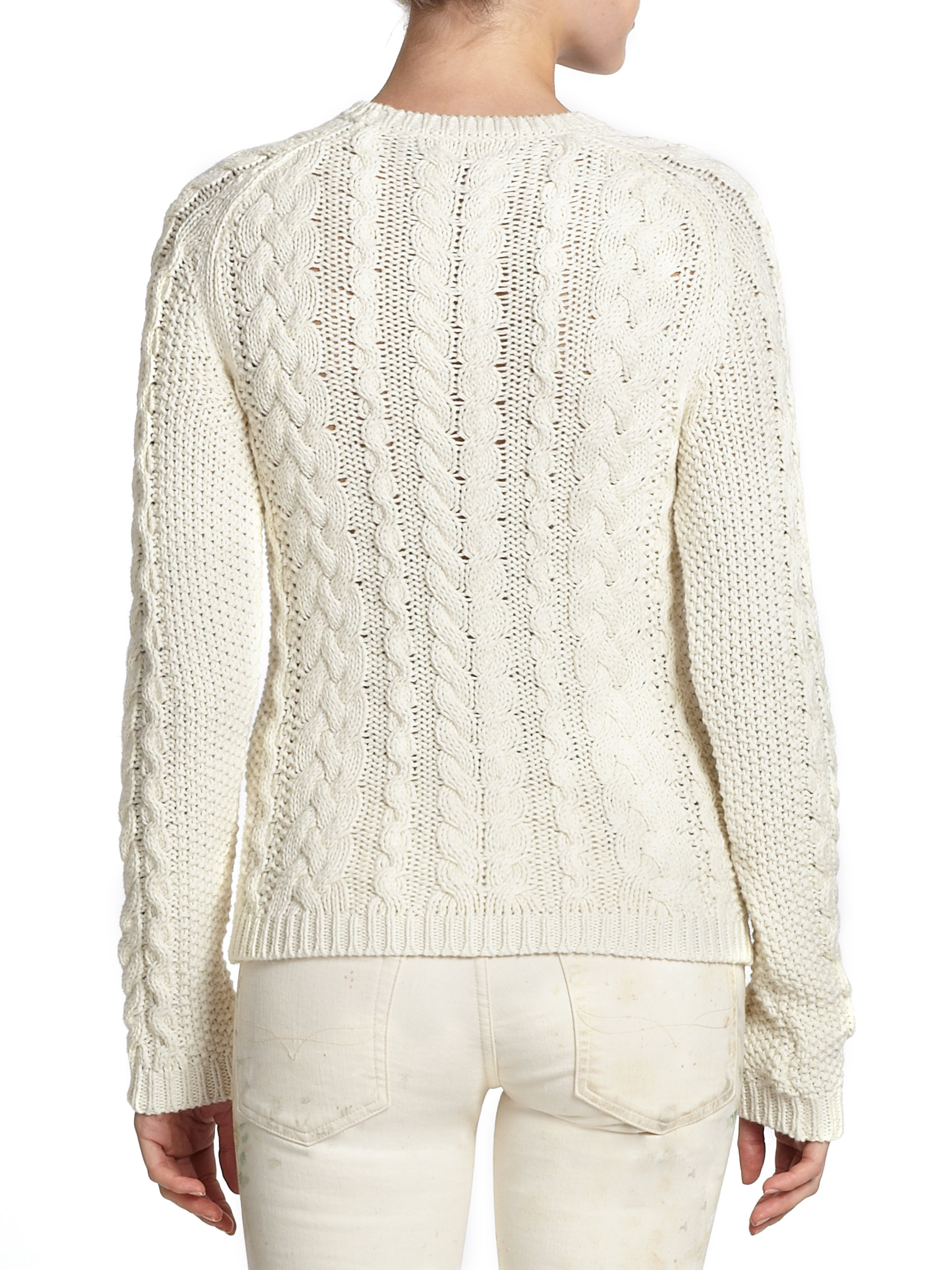 6b681c62b849 Lyst - Polo Ralph Lauren Cotton Cable-Knit Sweater in Natural