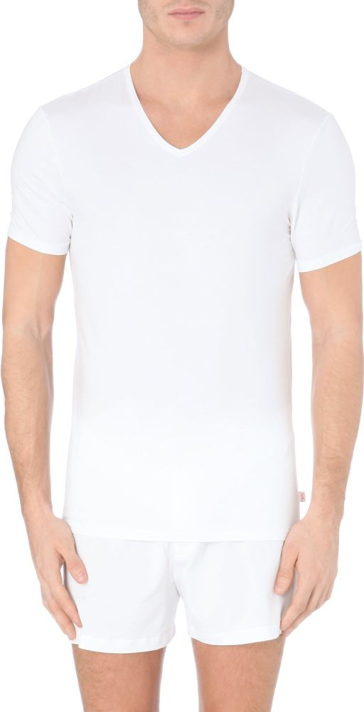 Derek rose v neck modal t shirt for men in white for men for Modal t shirts mens