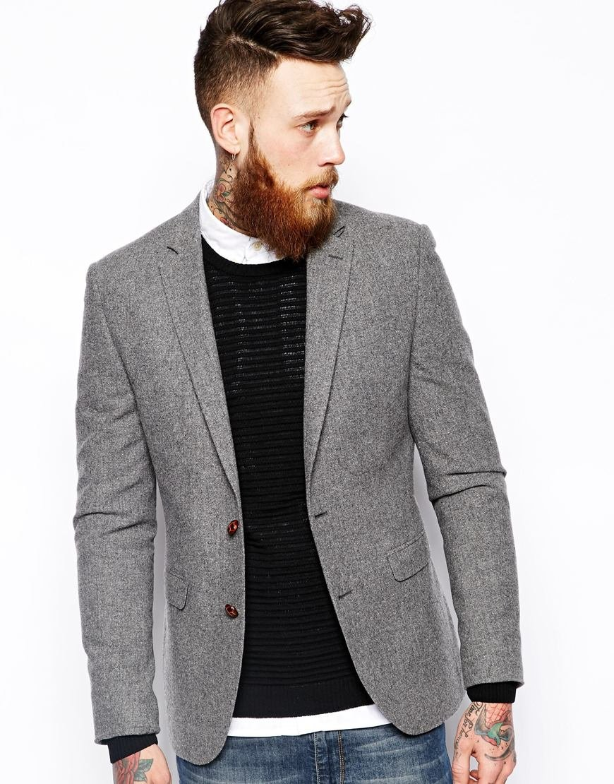 Mens Slim Fit Grey Blazer
