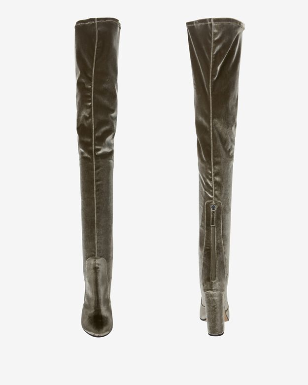 Aquazzura Velvet Over-the-knee Boots in Green | Lyst