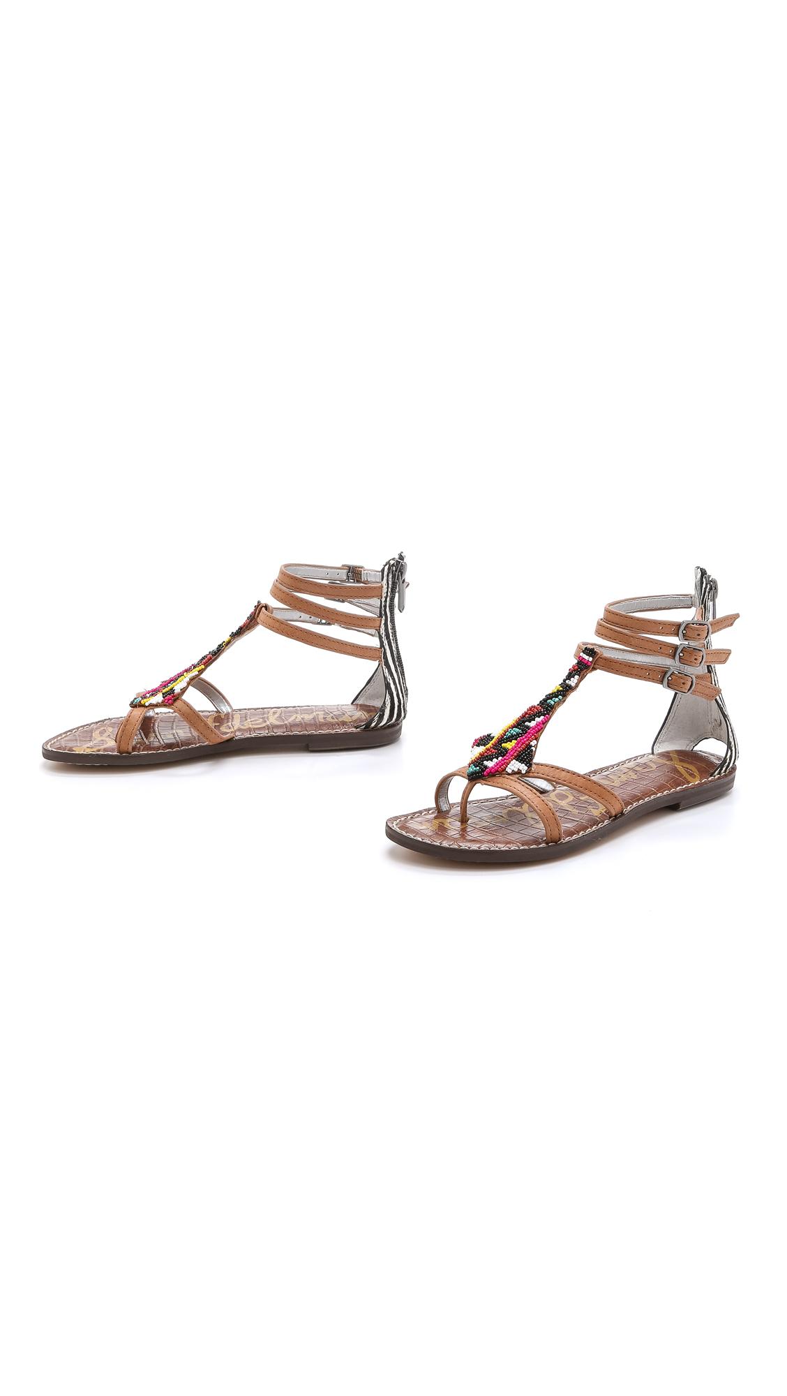 0c150912093ad Lyst - Sam Edelman Giselle Beaded Sandals - Soft Saddle black ivory