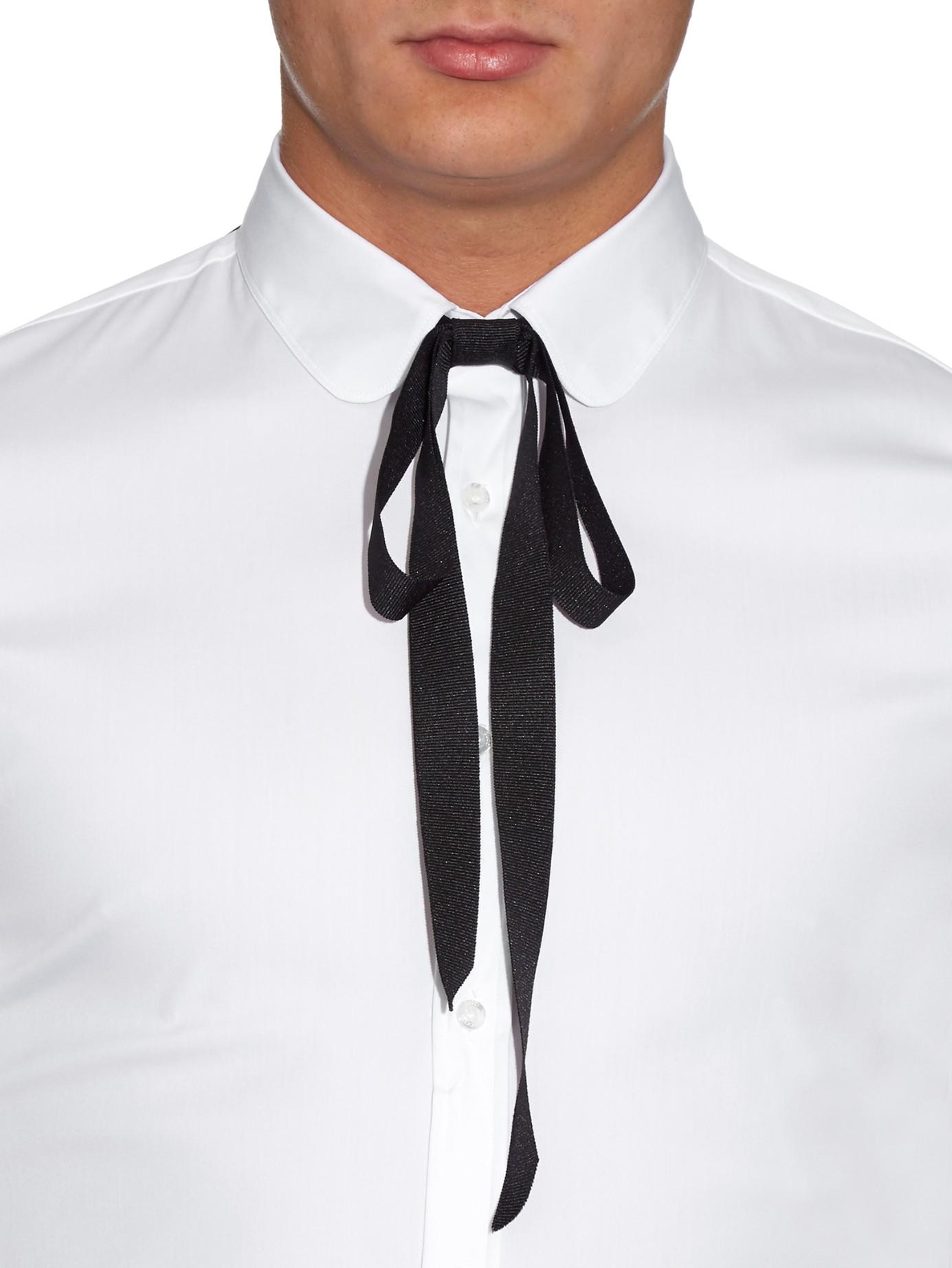 lyst gucci silkgrosgrain neck tie in black for men