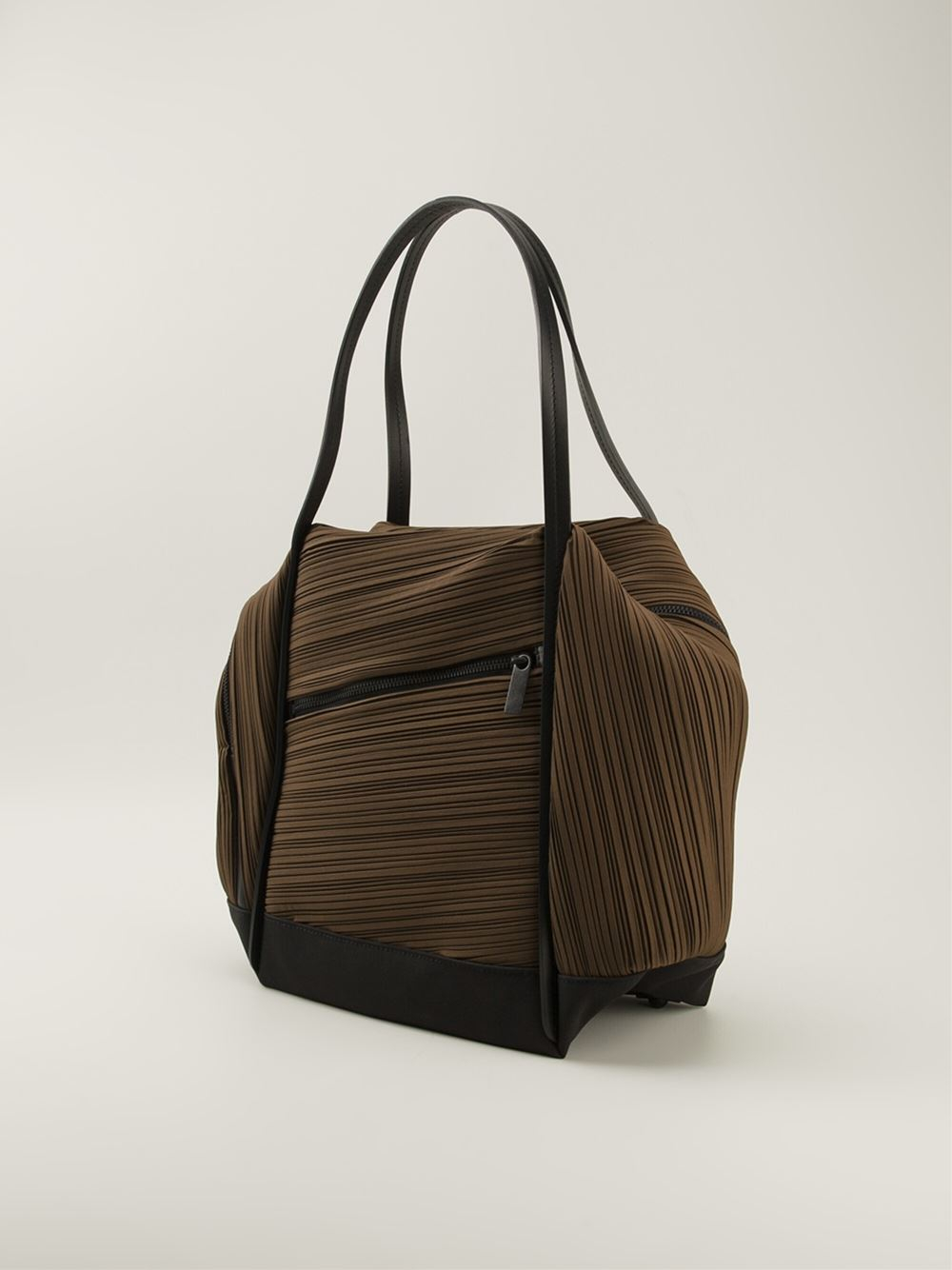 Lyst - Pleats Please Issey Miyake Pleated Tote Bag in Brown c4354f779d
