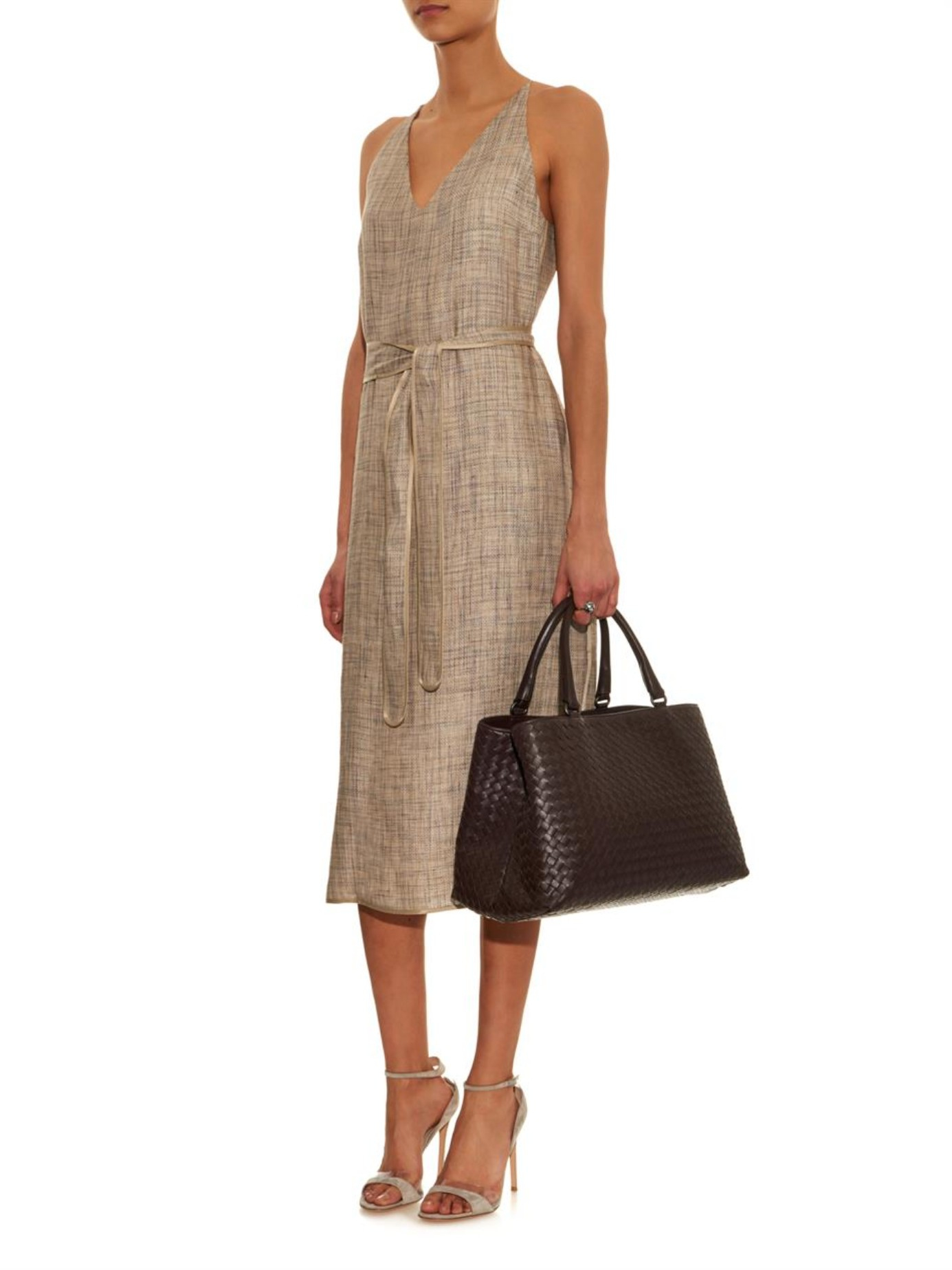 24e0f047b1bc Bottega Veneta Milano Intrecciato Leather Tote in Brown - Lyst