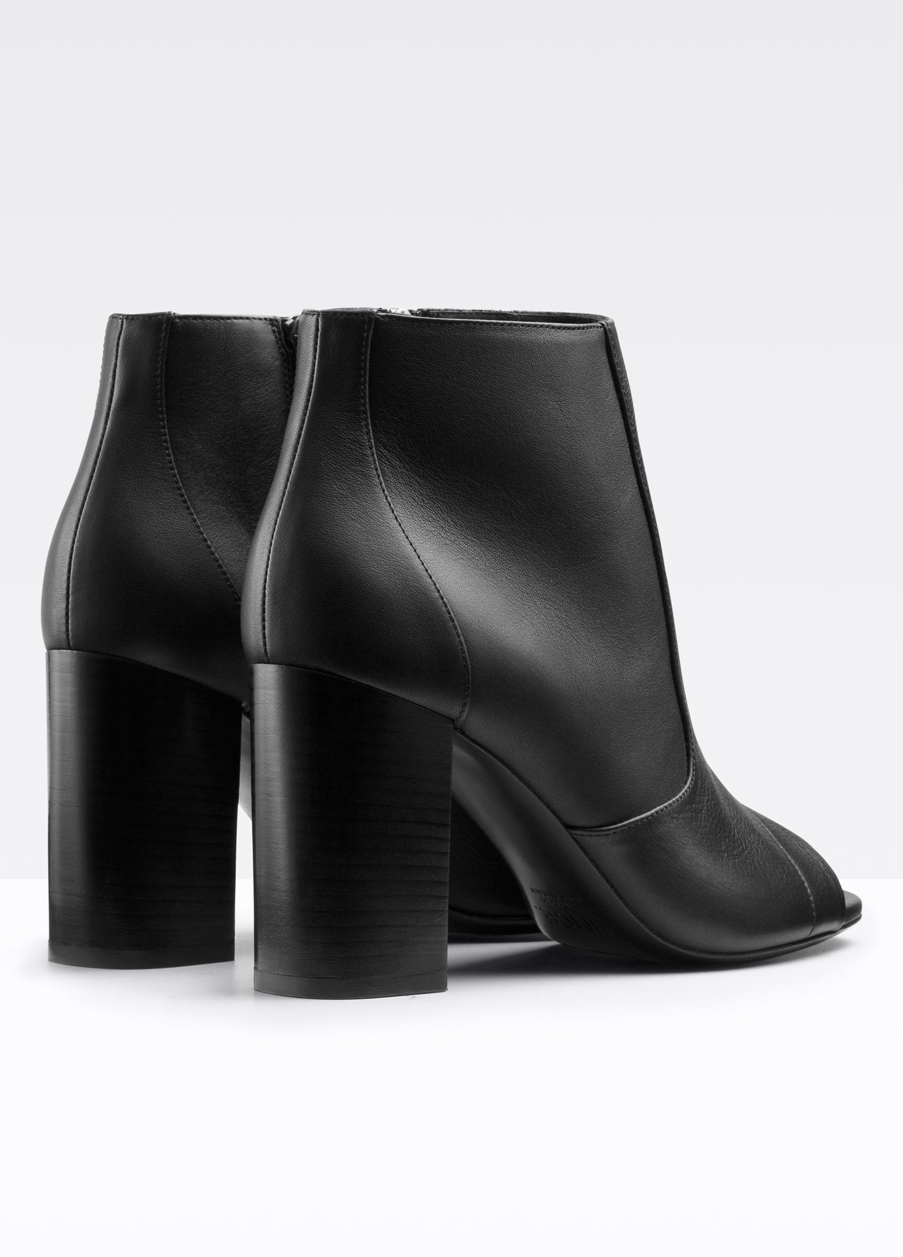 Lyst - Vince Fionn Peep-toe Leather Bootie in Black