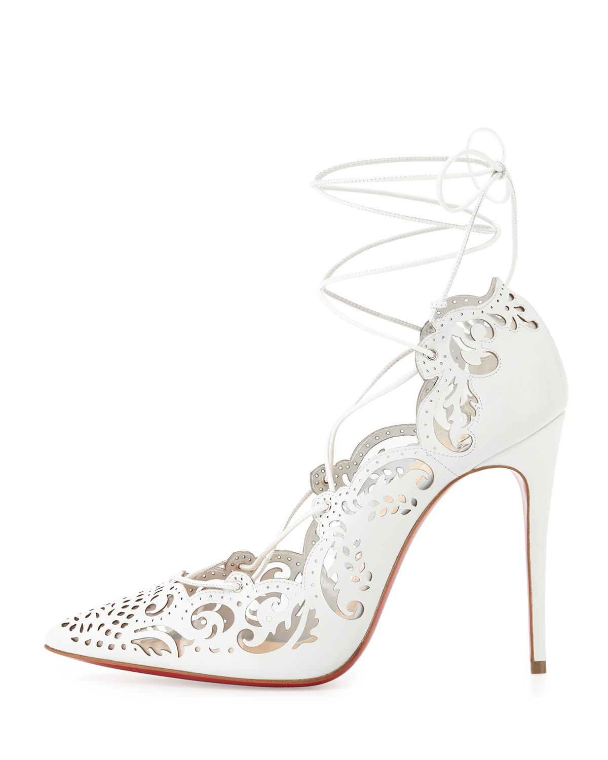 Christian louboutin Impera Laceup Red Sole Pump White in White | Lyst