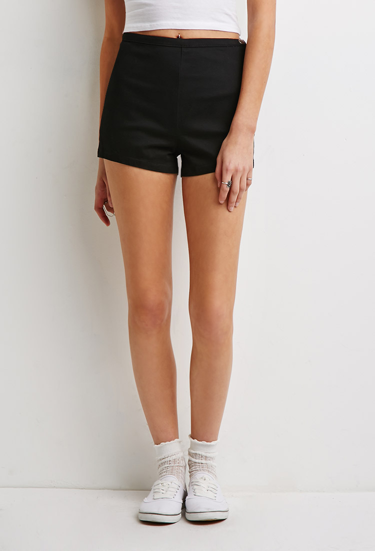 Forever 21 High-waisted Chino Shorts in Black | Lyst