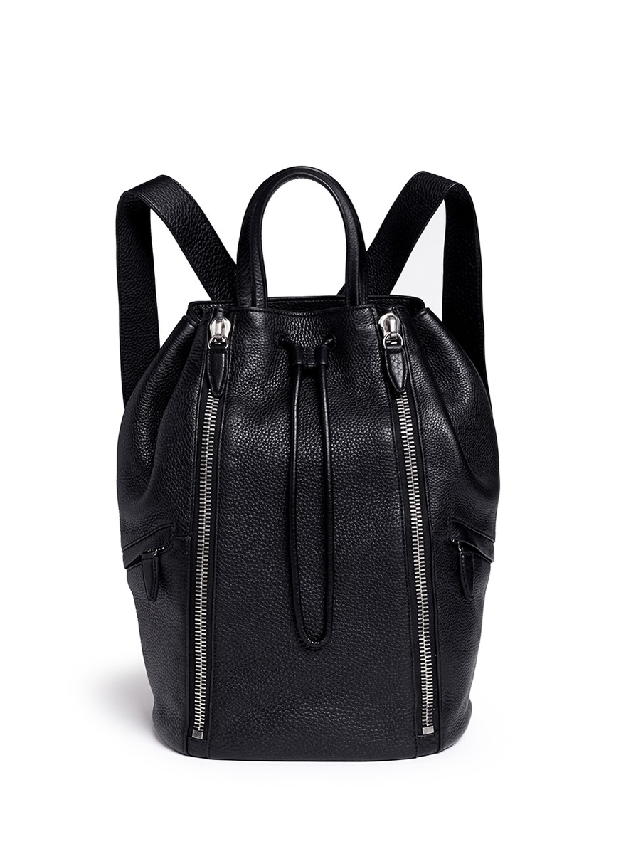 Alexander wang Leather Drawstring Backpack in Black for Men | Lyst