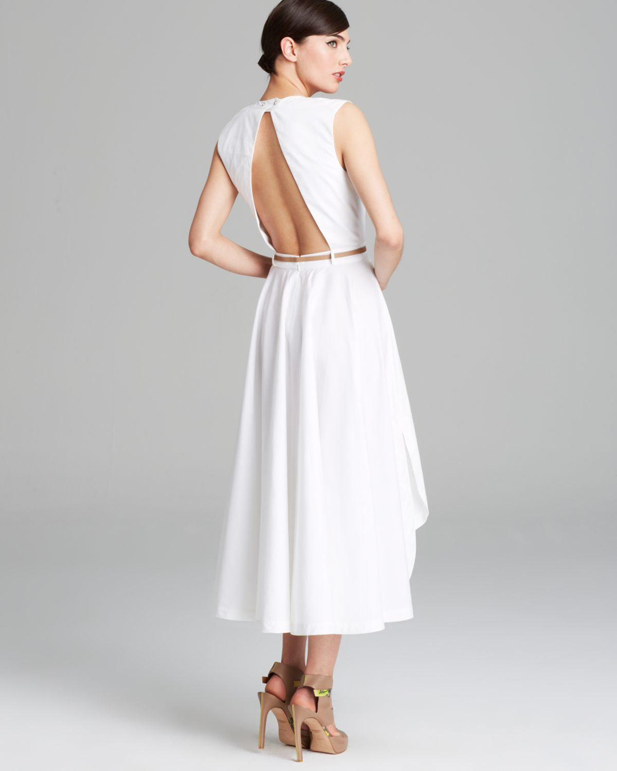 Off White Tea Length Dress