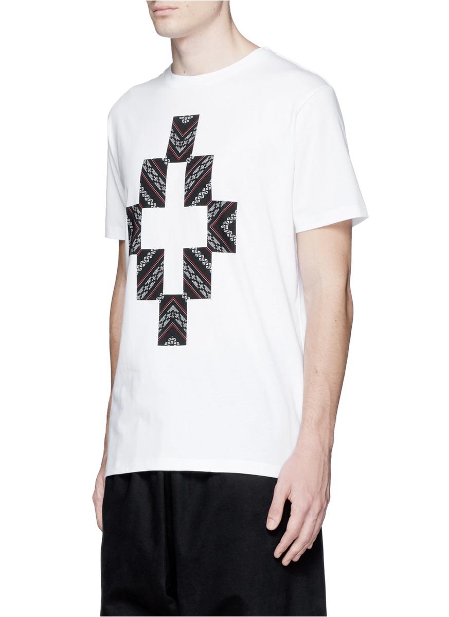 Lyst marcelo burlon 39 macul 39 logo print t shirt in white for Logo print t shirt