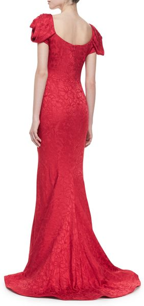 Zac Posen Floral Jacquard Flare Gown Red In Pink Red Lyst