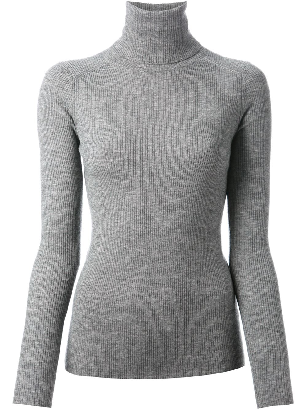 Vanessa bruno Ribbed Turtleneck Sweater in Gray | Lyst