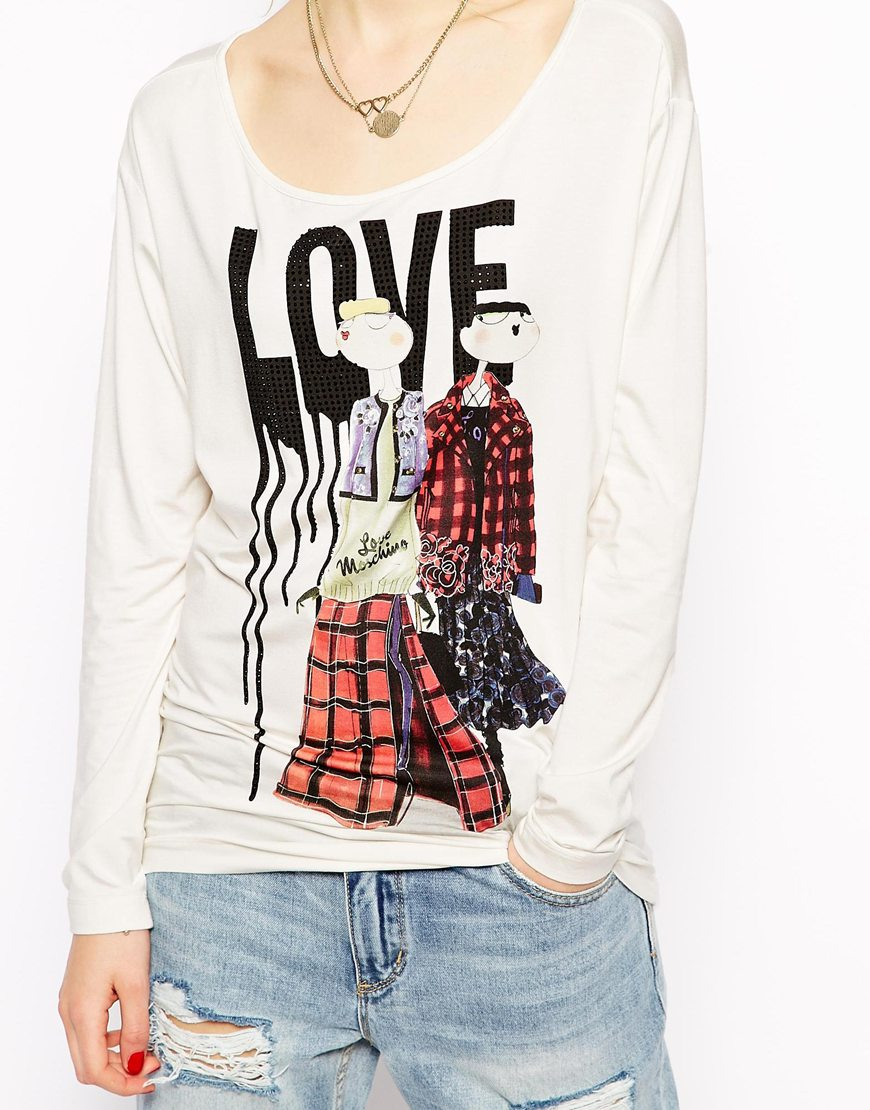love moschino t shirt with long sleeves and crystal print. Black Bedroom Furniture Sets. Home Design Ideas
