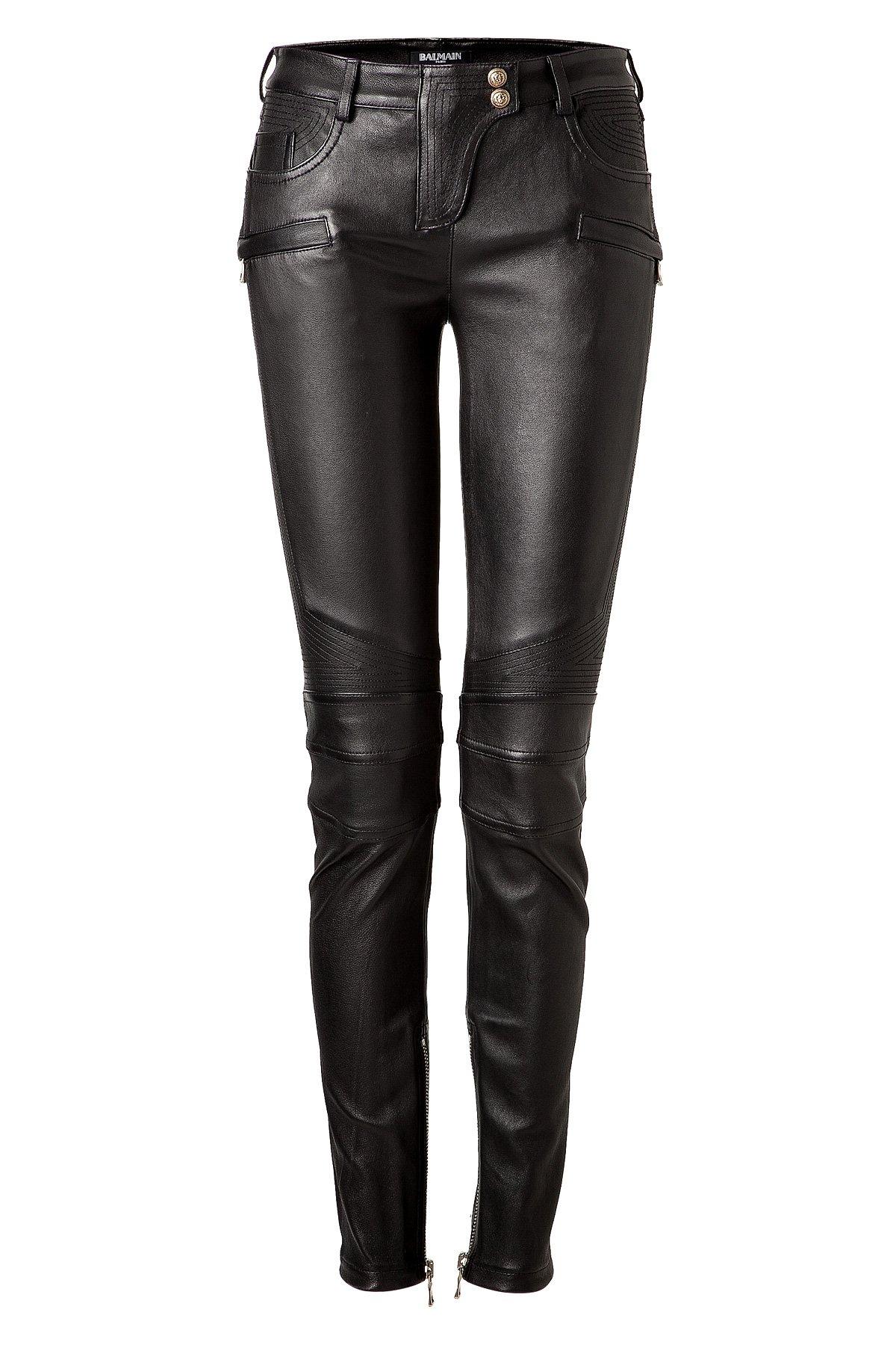 Lyst Balmain Leather Biker Pants Black In Black
