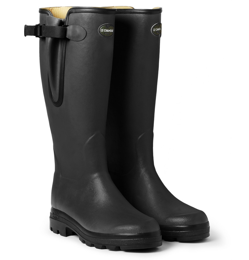le chameau vierzon leather lined wellington boots in black