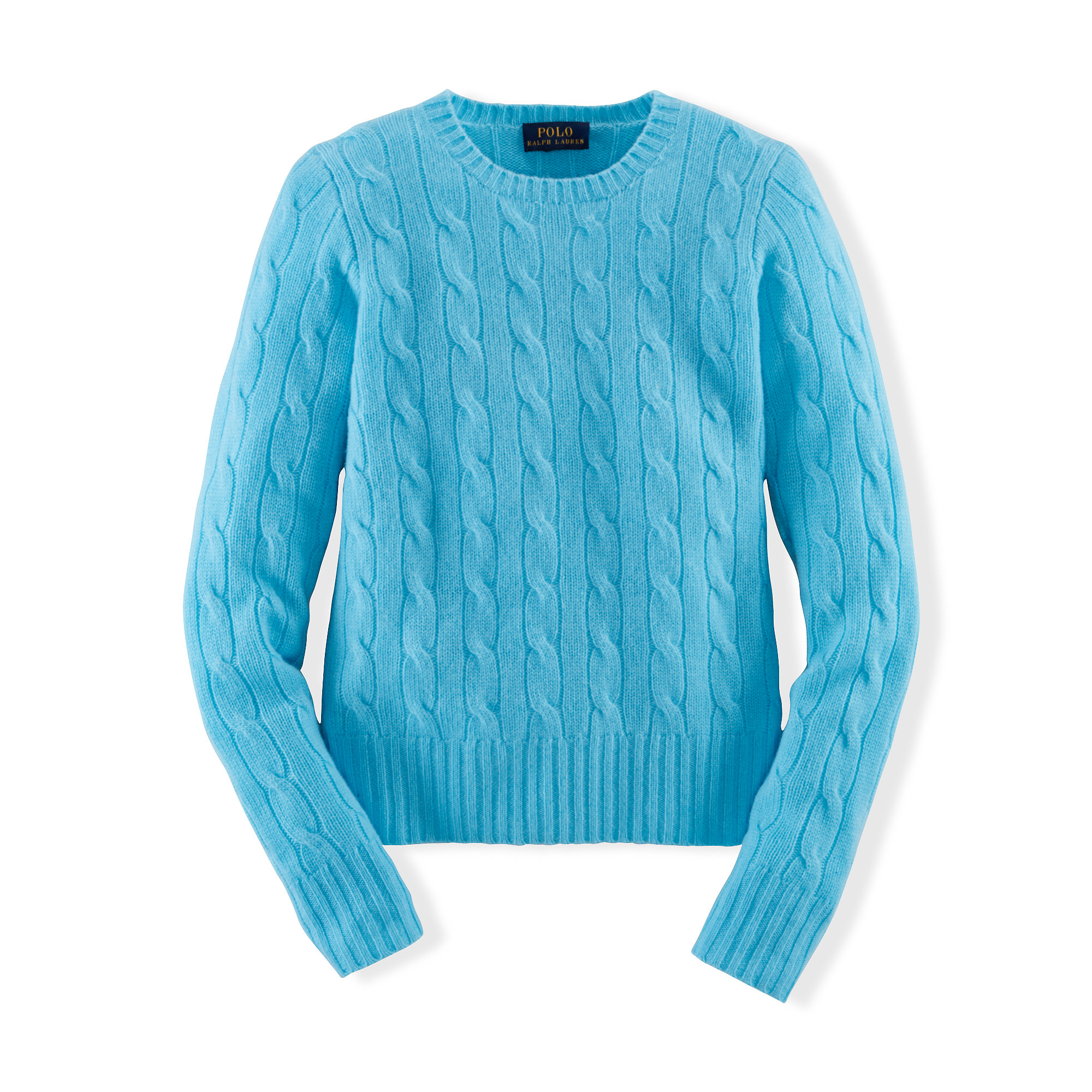 Ralph lauren Cable-knit Cashmere Sweater in Blue | Lyst